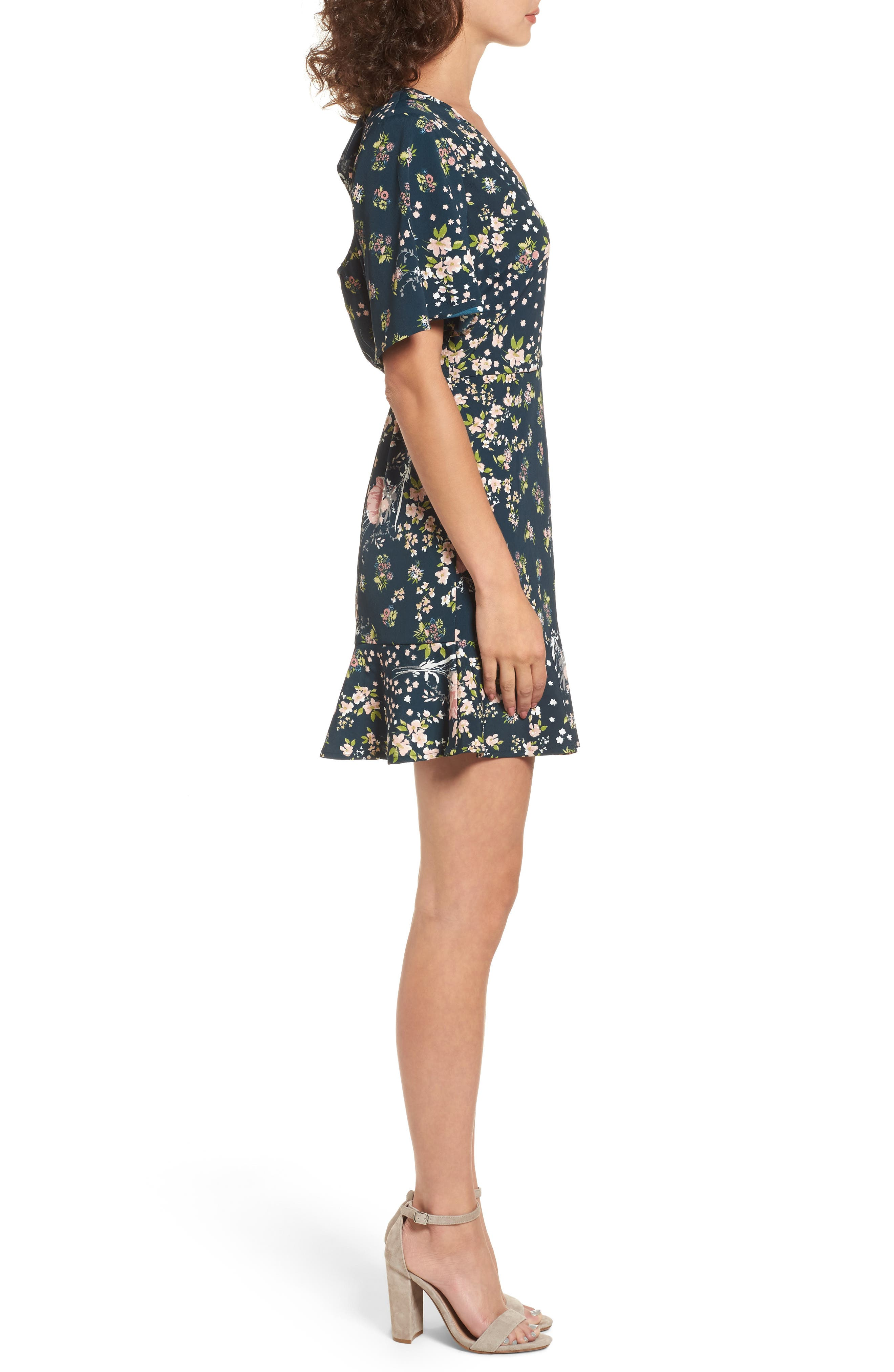 Moody Floral Dress,                             Alternate thumbnail 3, color,                             440