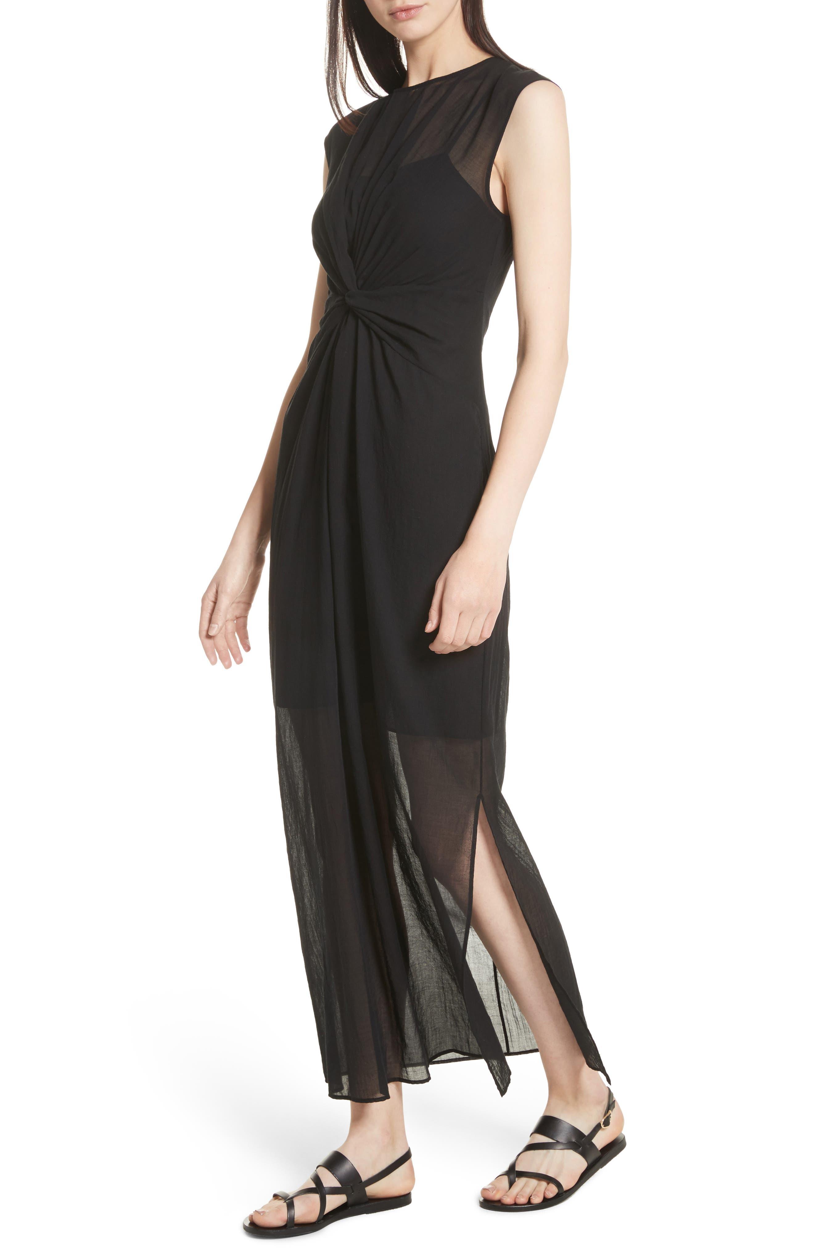 Knot Front Maxi Dress,                             Alternate thumbnail 4, color,                             001