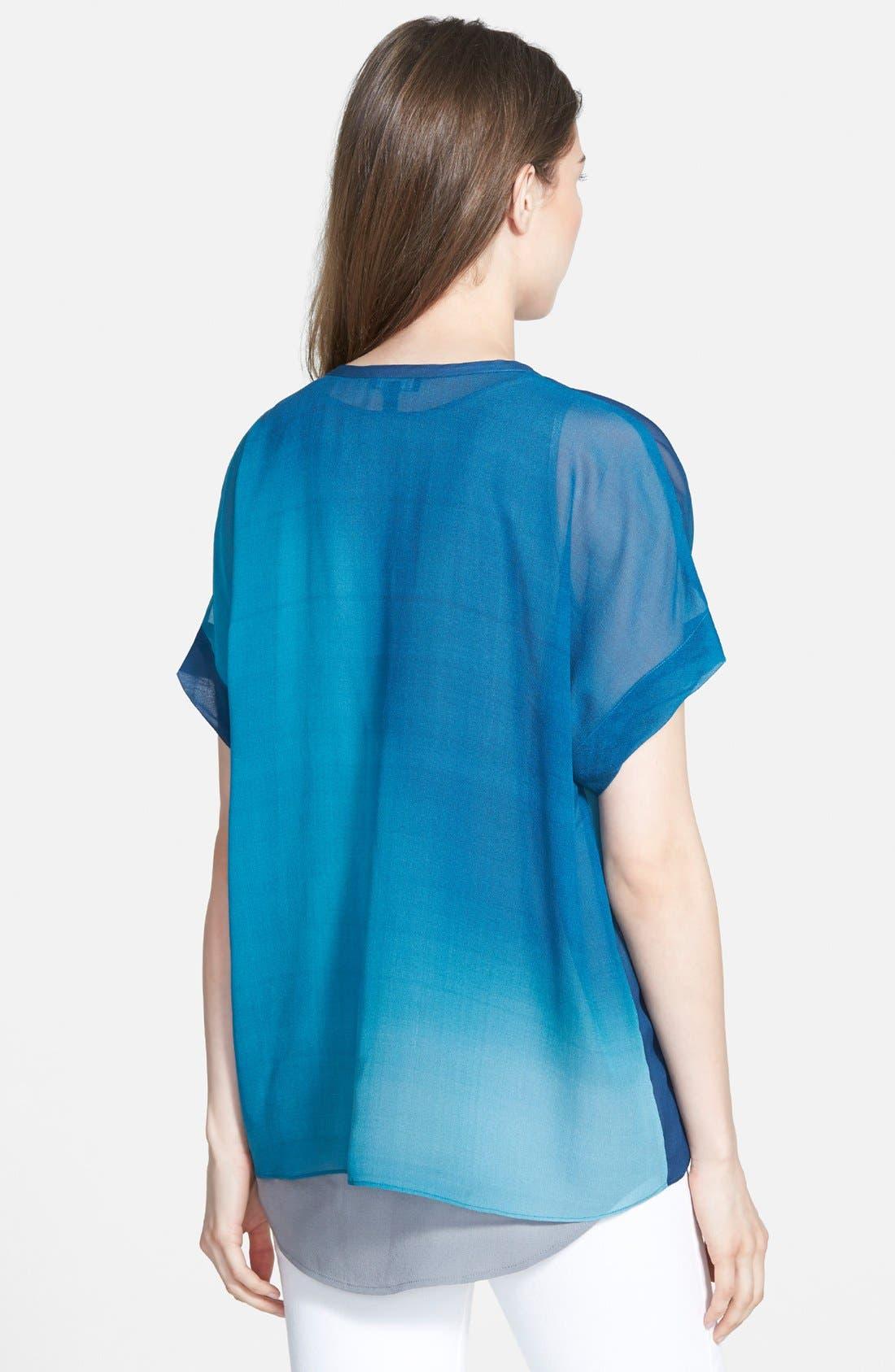 Ombré Silk Short Sleeve Top,                             Alternate thumbnail 6, color,