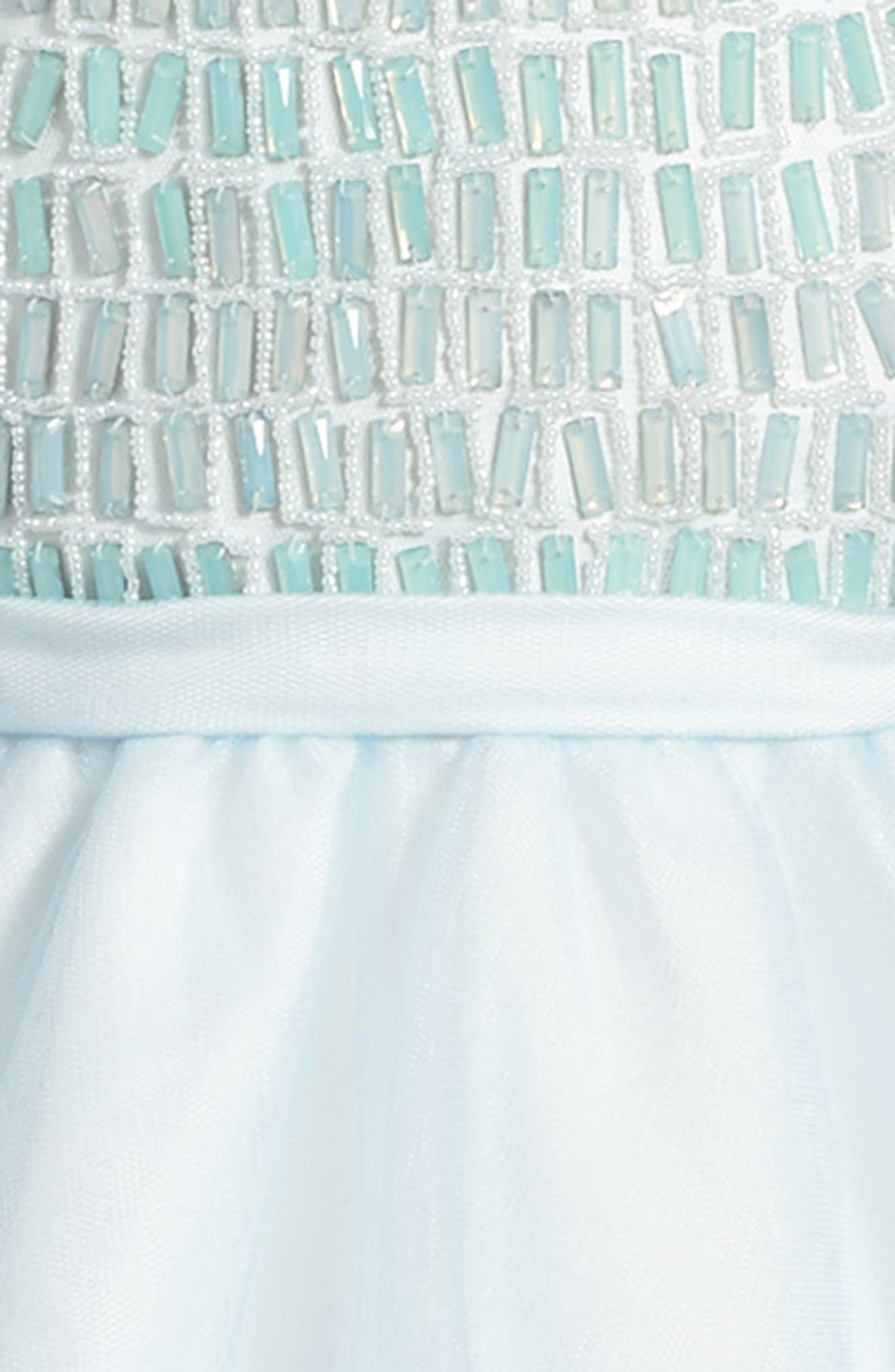 Beaded Dress,                             Alternate thumbnail 3, color,                             BLUE/ IVORY