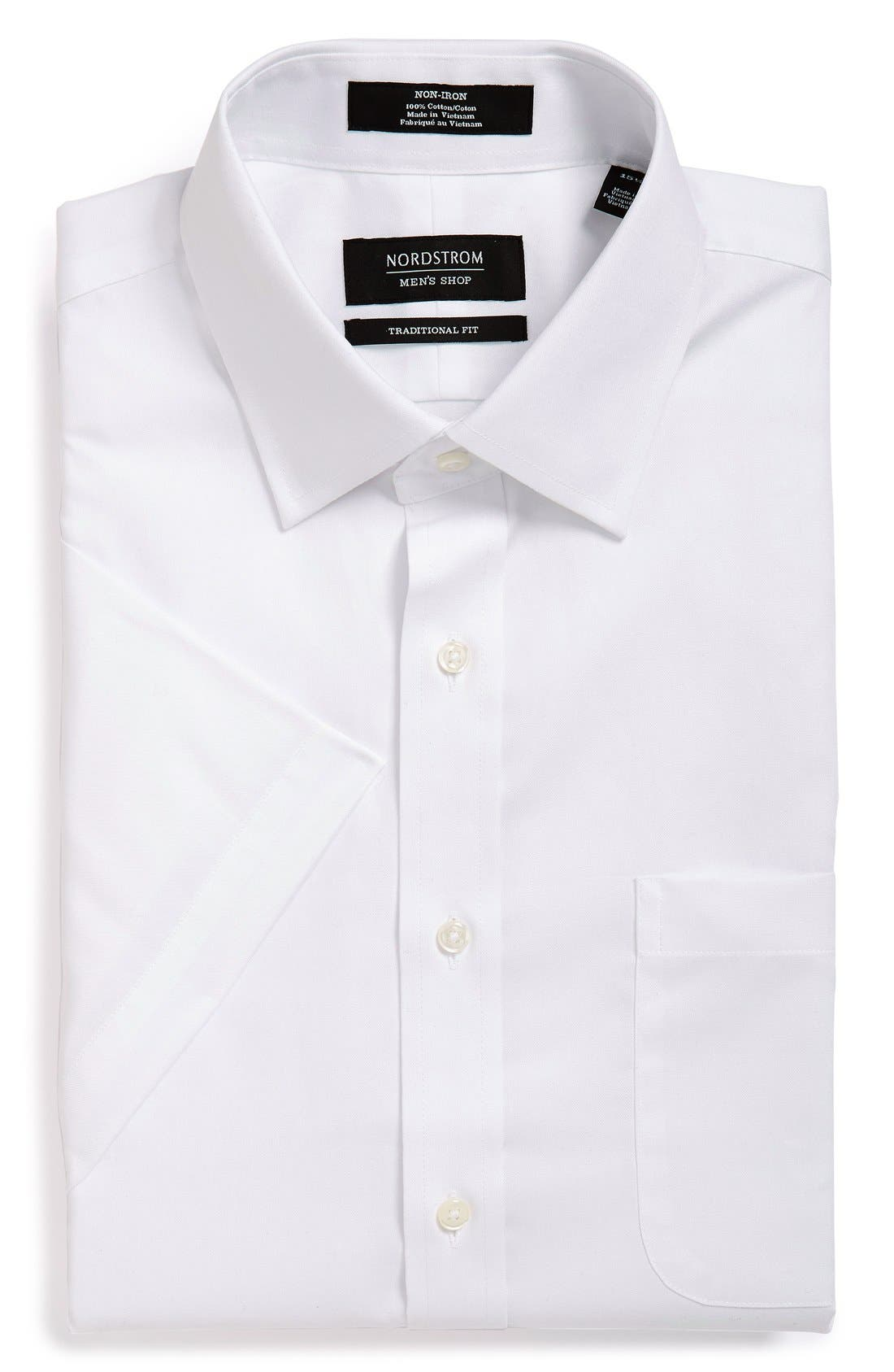 Traditional Fit Non-Iron Solid Short Sleeve Dress Shirt,                         Main,                         color, WHITE