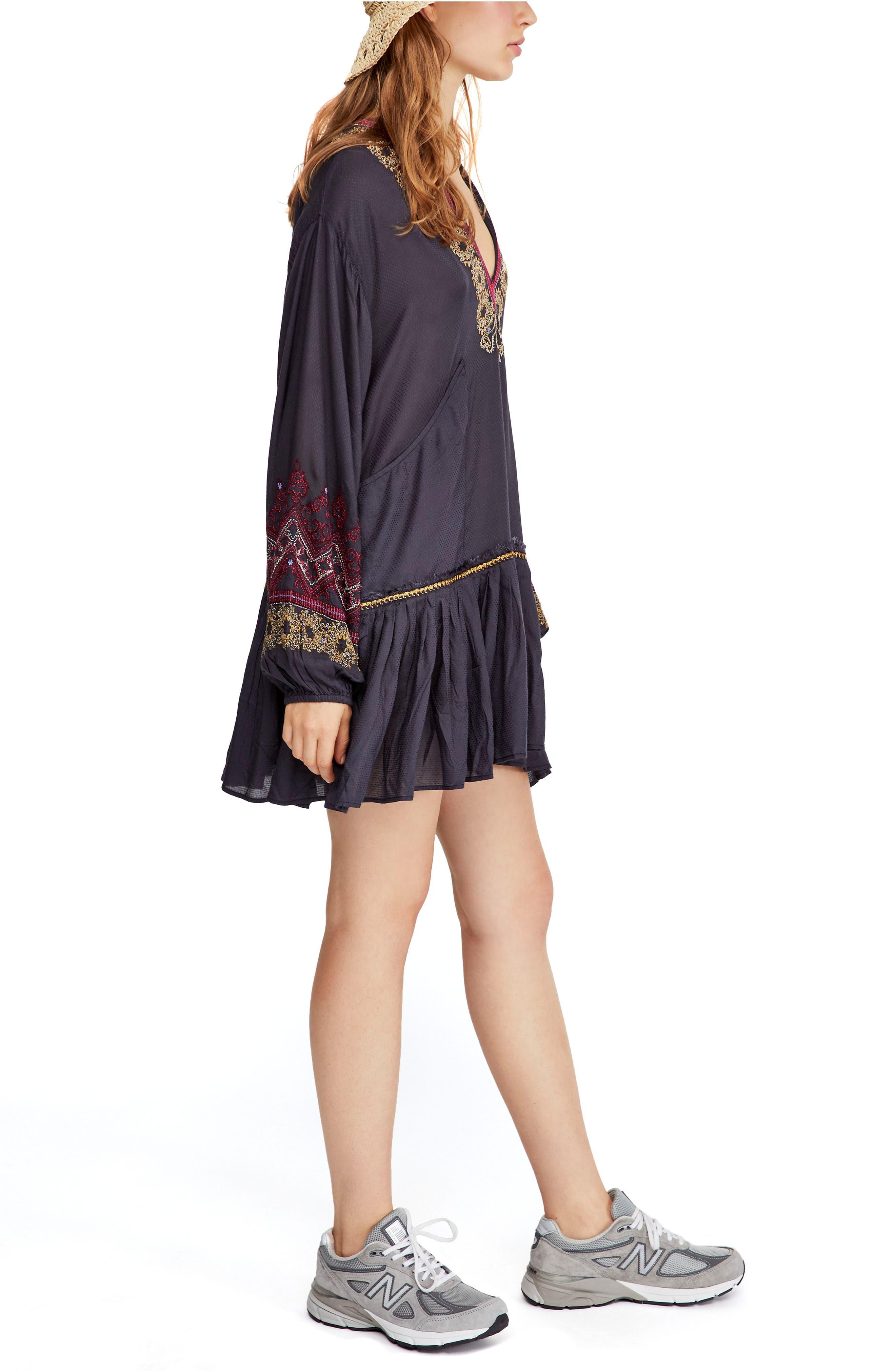 Wild One Embellished Dress,                             Alternate thumbnail 3, color,                             BLACK