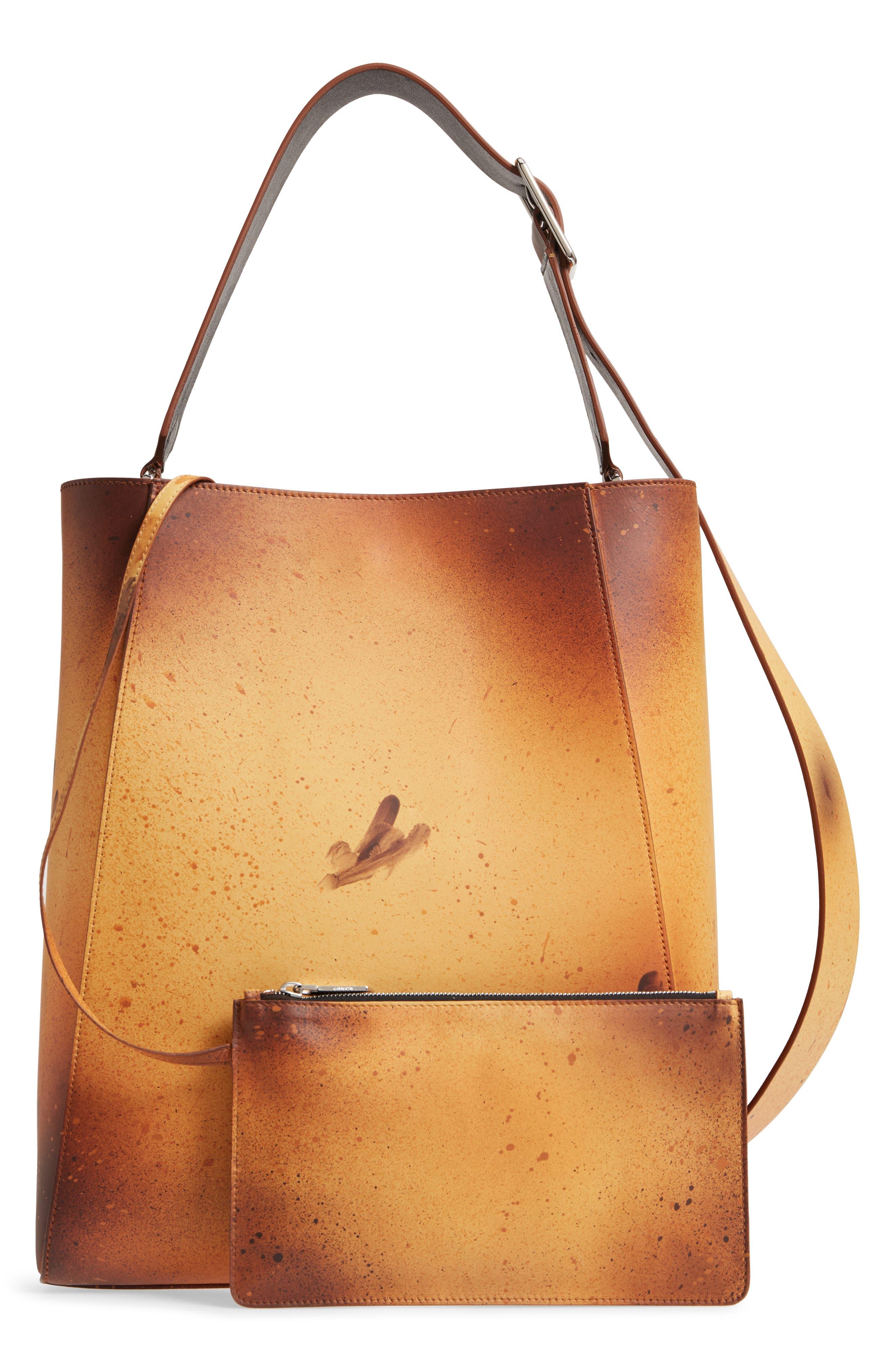 x Andy Warhol Foundation Sandra Brant Calfskin Leather Bucket Bag,                             Alternate thumbnail 3, color,                             AMBER/ BLACK
