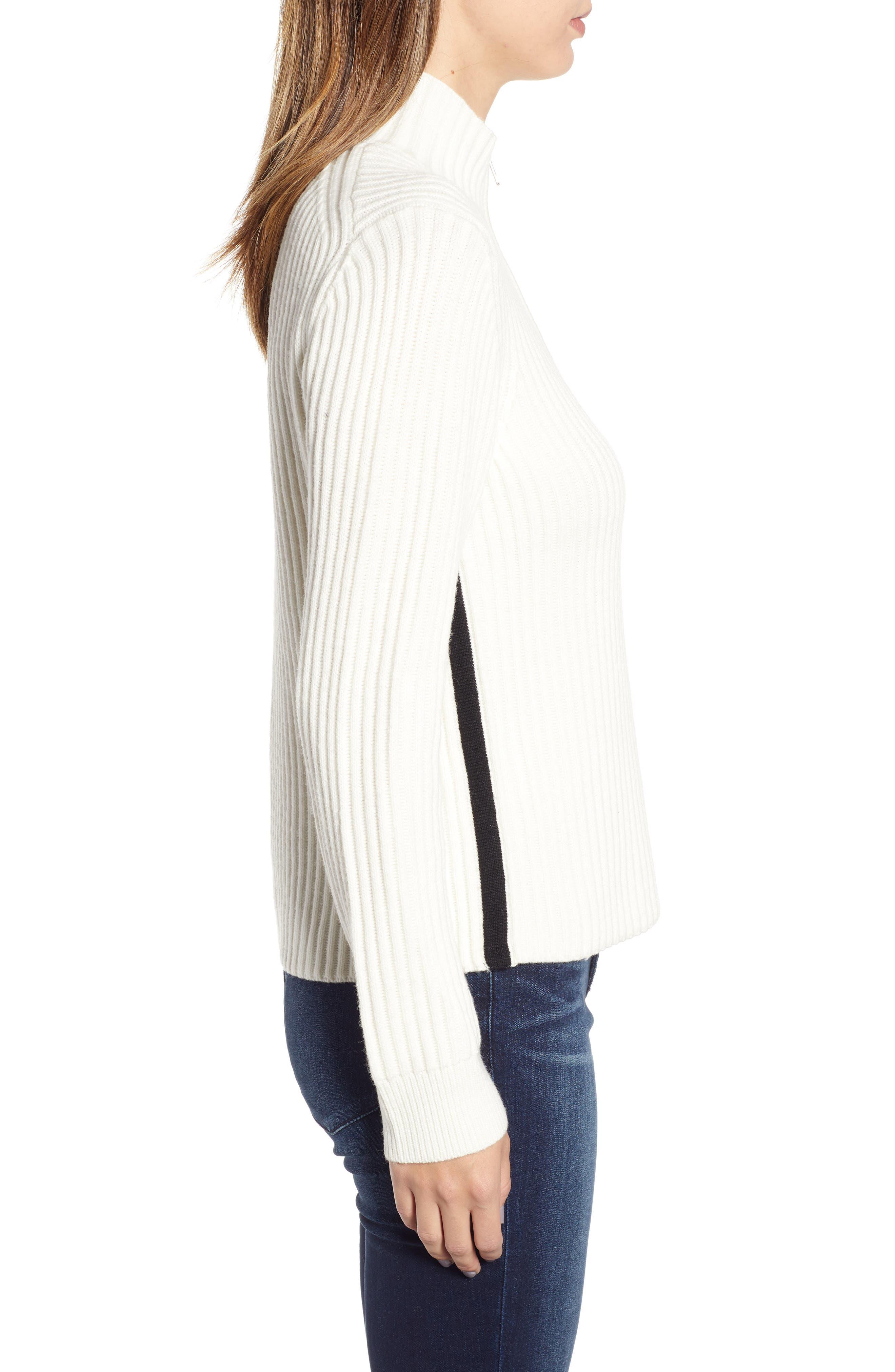 Half Zip Wool Blend Sweater,                             Alternate thumbnail 3, color,                             GREY