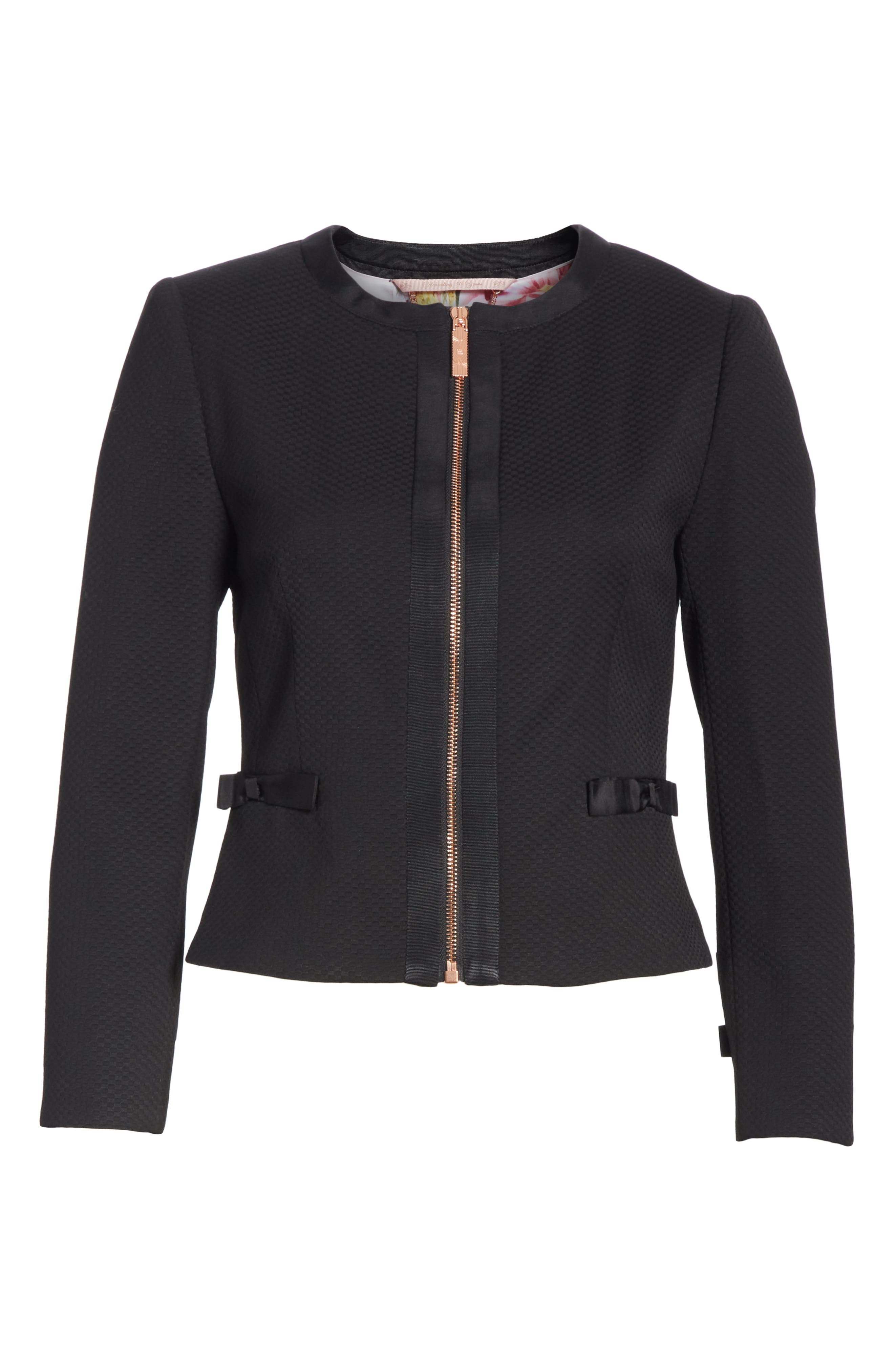 Ted Working Title Nadae Cropped Textured Jacket,                             Alternate thumbnail 5, color,                             BLACK