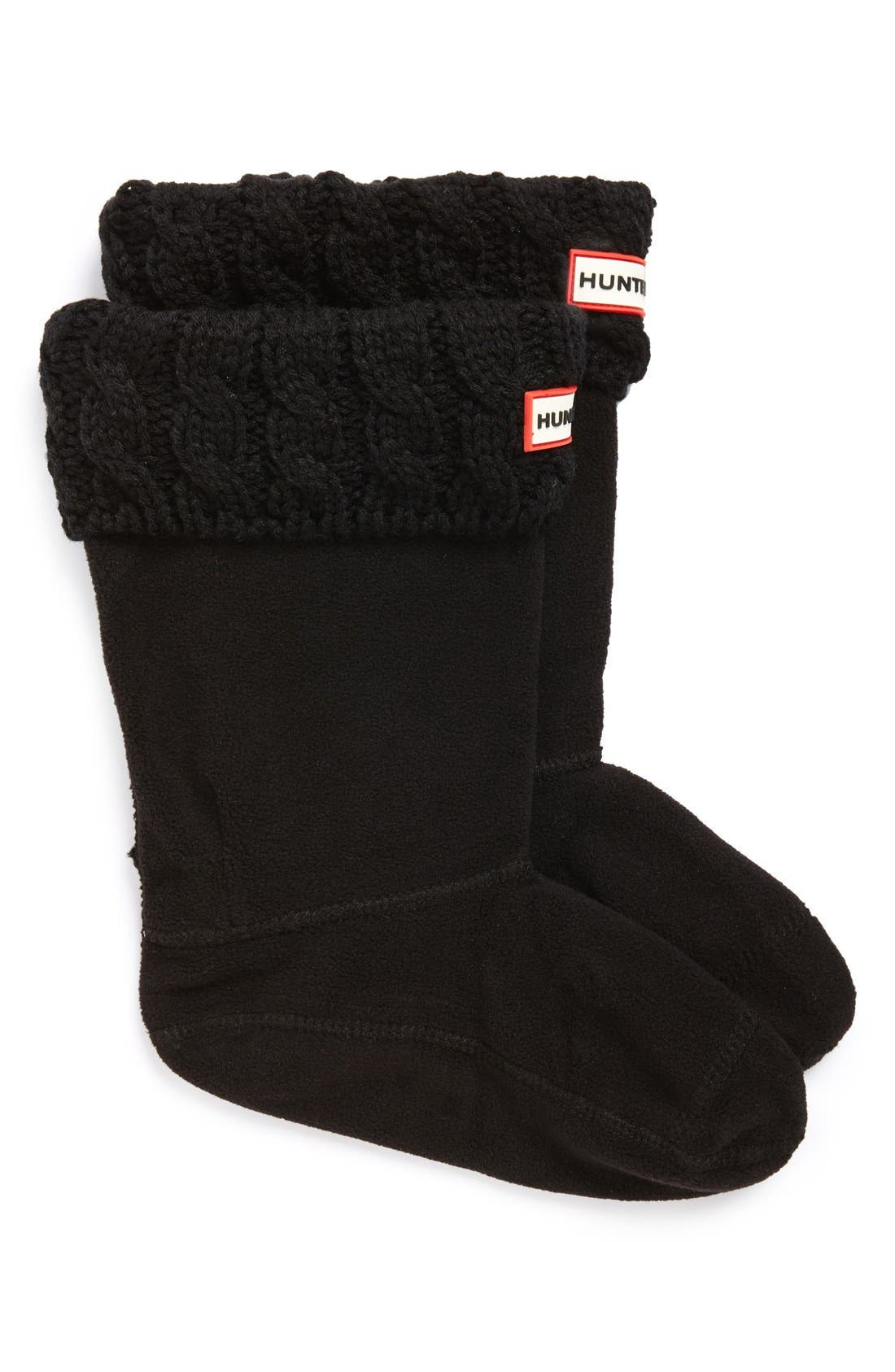 Girls Hunter Cable Knit Cuff Welly Boot Socks Size L (13)  Black