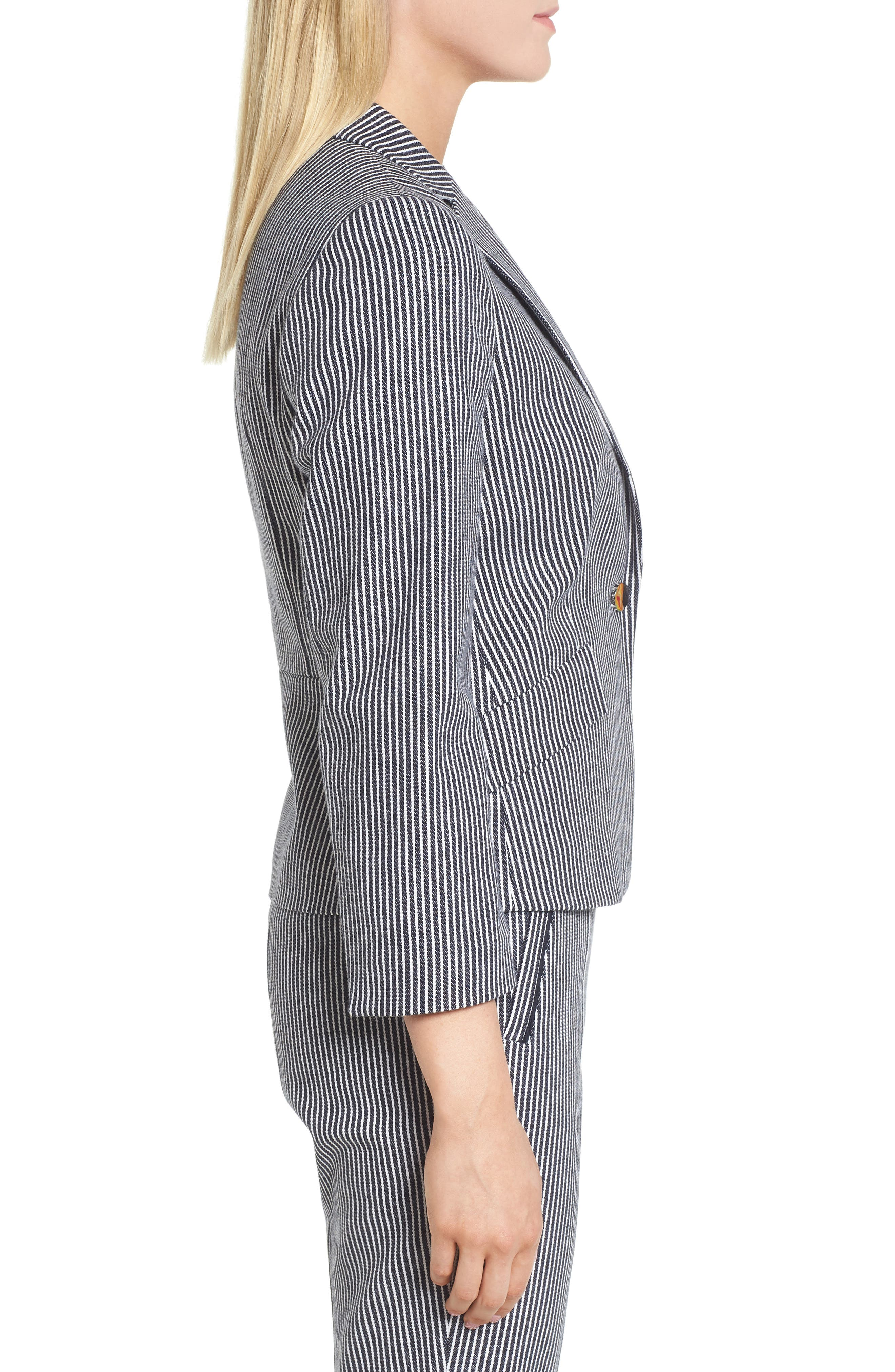 Katemika Stripe Stretch Cotton Suit Jacket,                             Alternate thumbnail 3, color,                             461