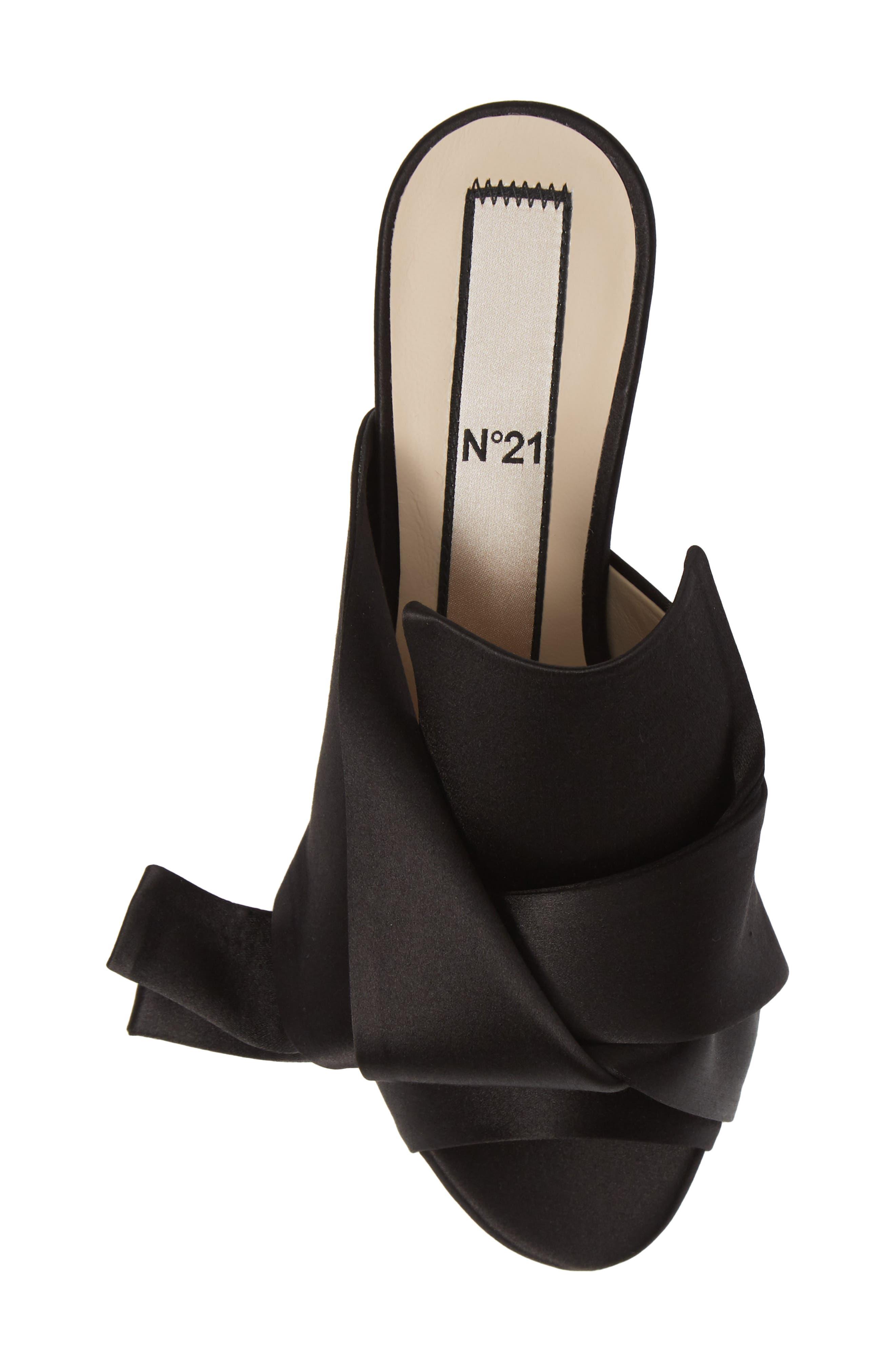 Bow Slide Sandal,                             Alternate thumbnail 5, color,                             BLACK