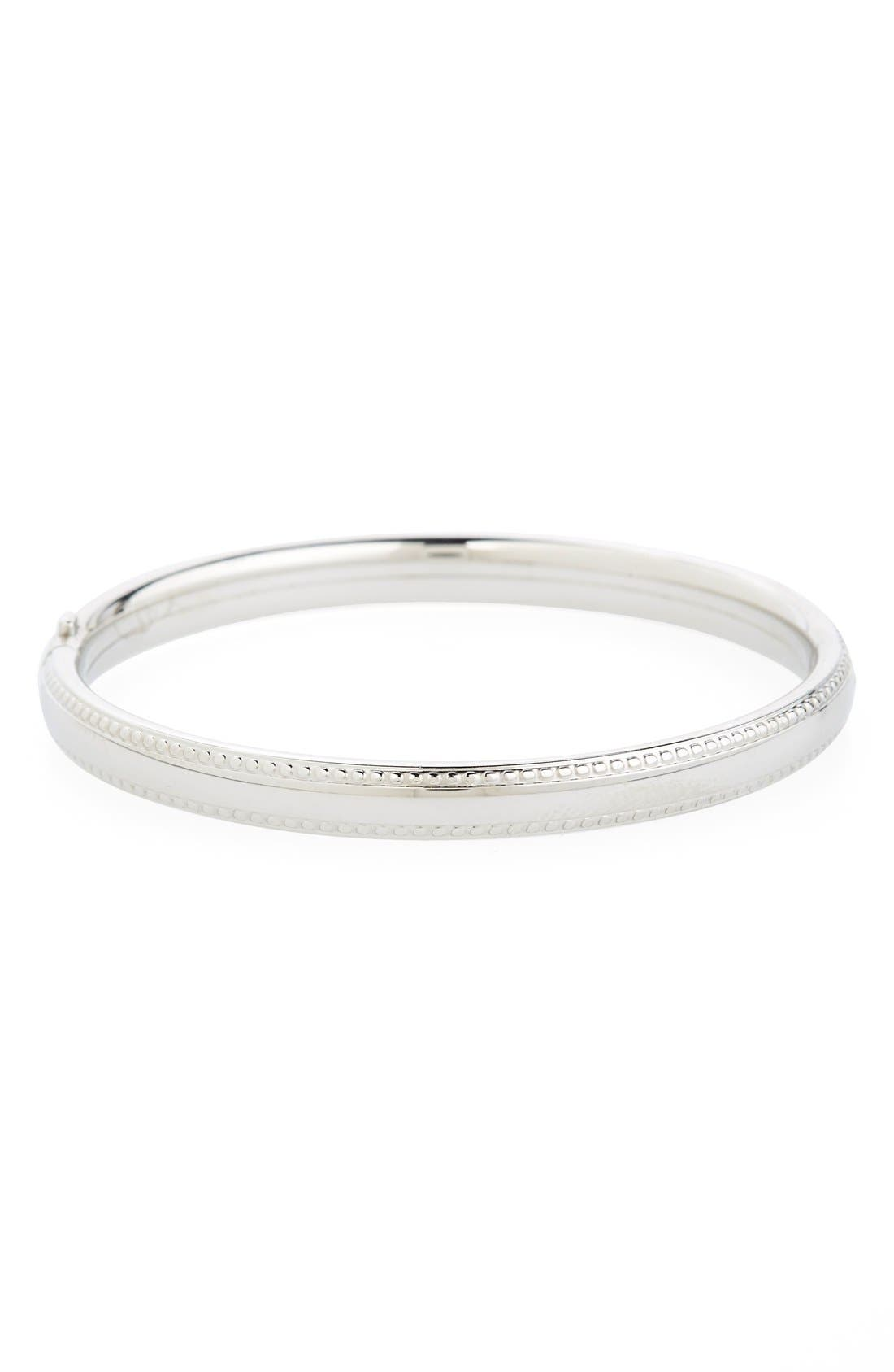 Bead Edge Silver Bangle,                             Main thumbnail 1, color,                             SILVER