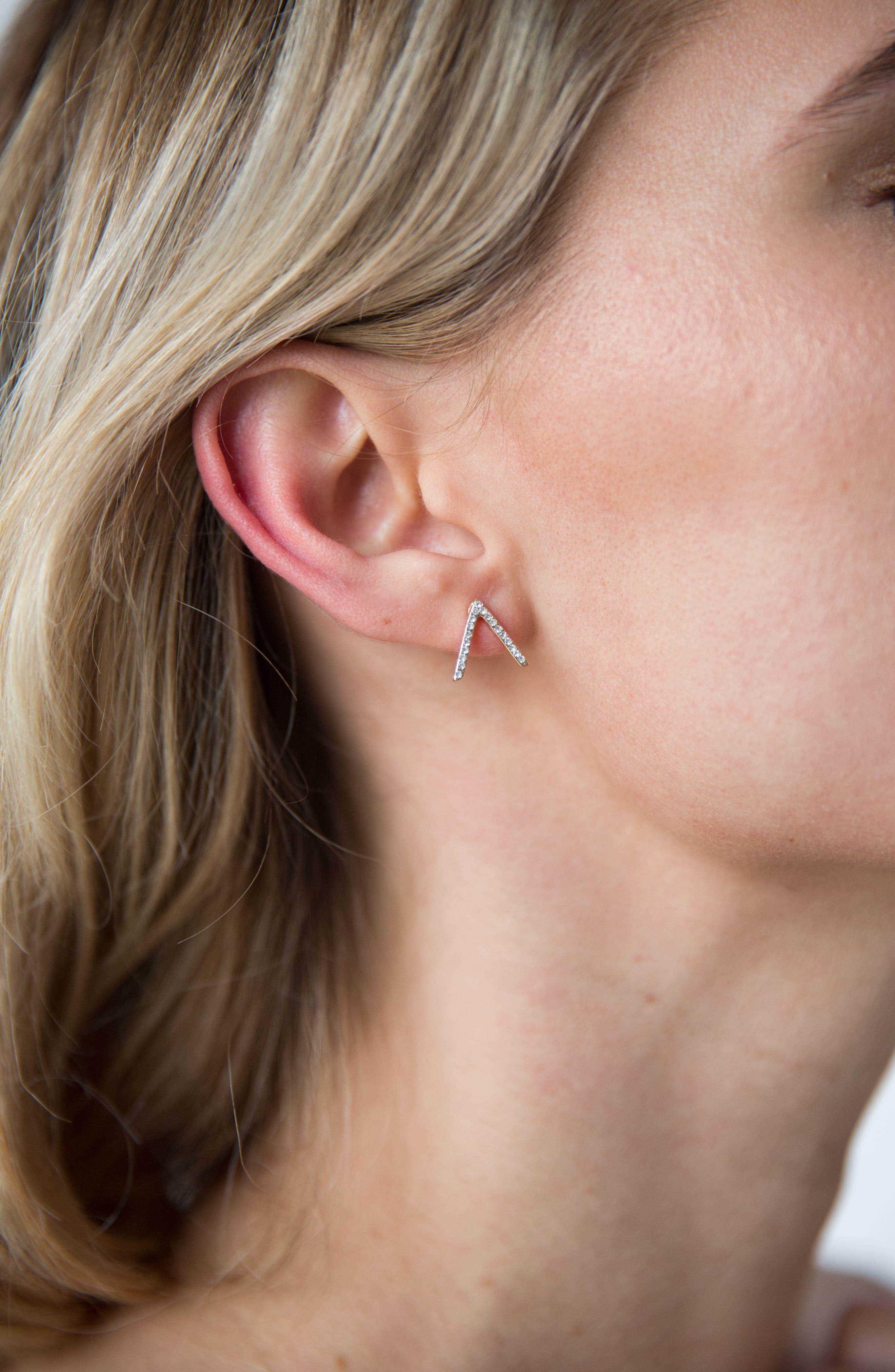 Crystal Chevron Stud Earrings,                             Alternate thumbnail 3, color,