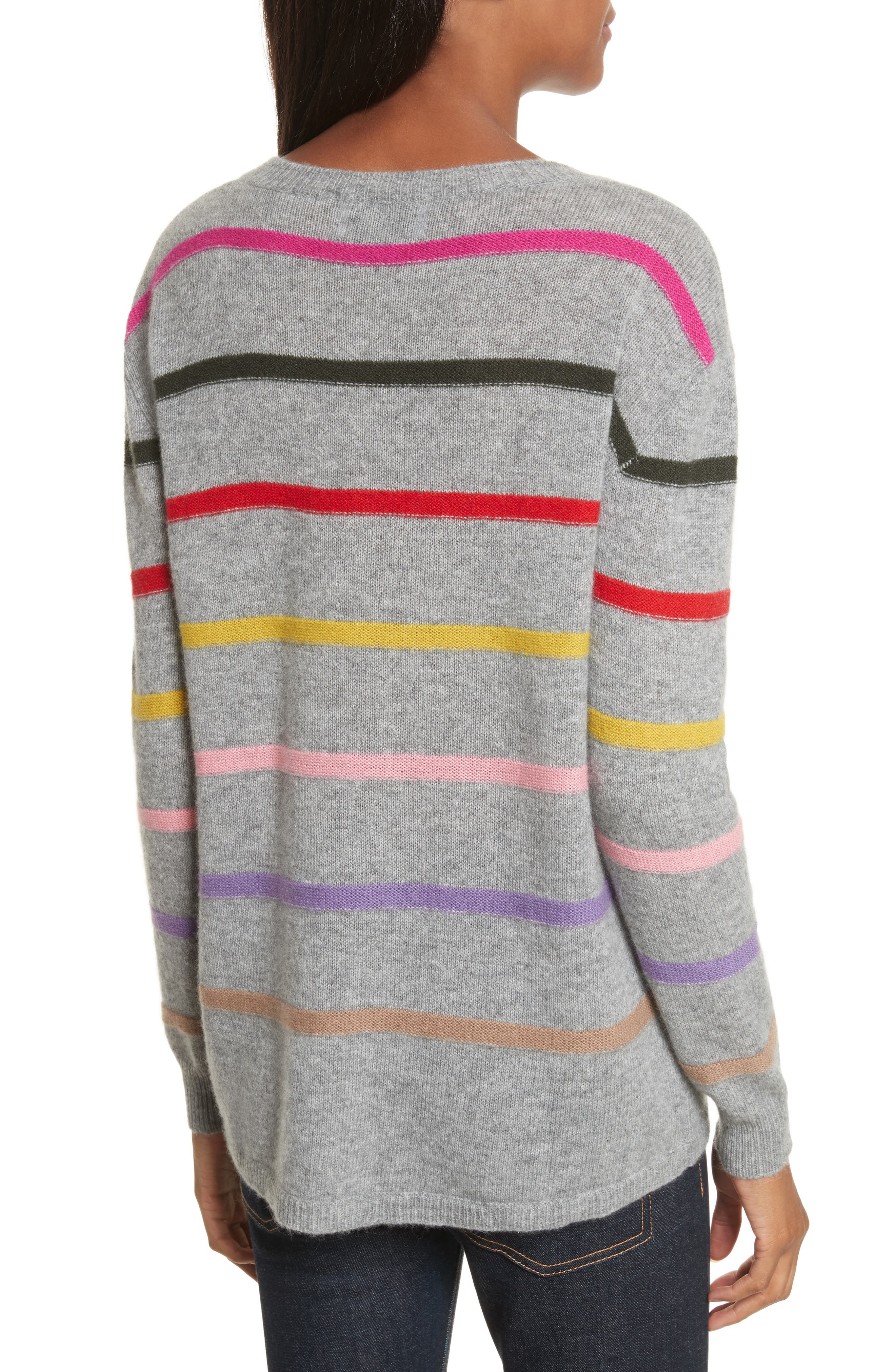 Stripe Cashmere Sweater,                             Alternate thumbnail 2, color,                             021