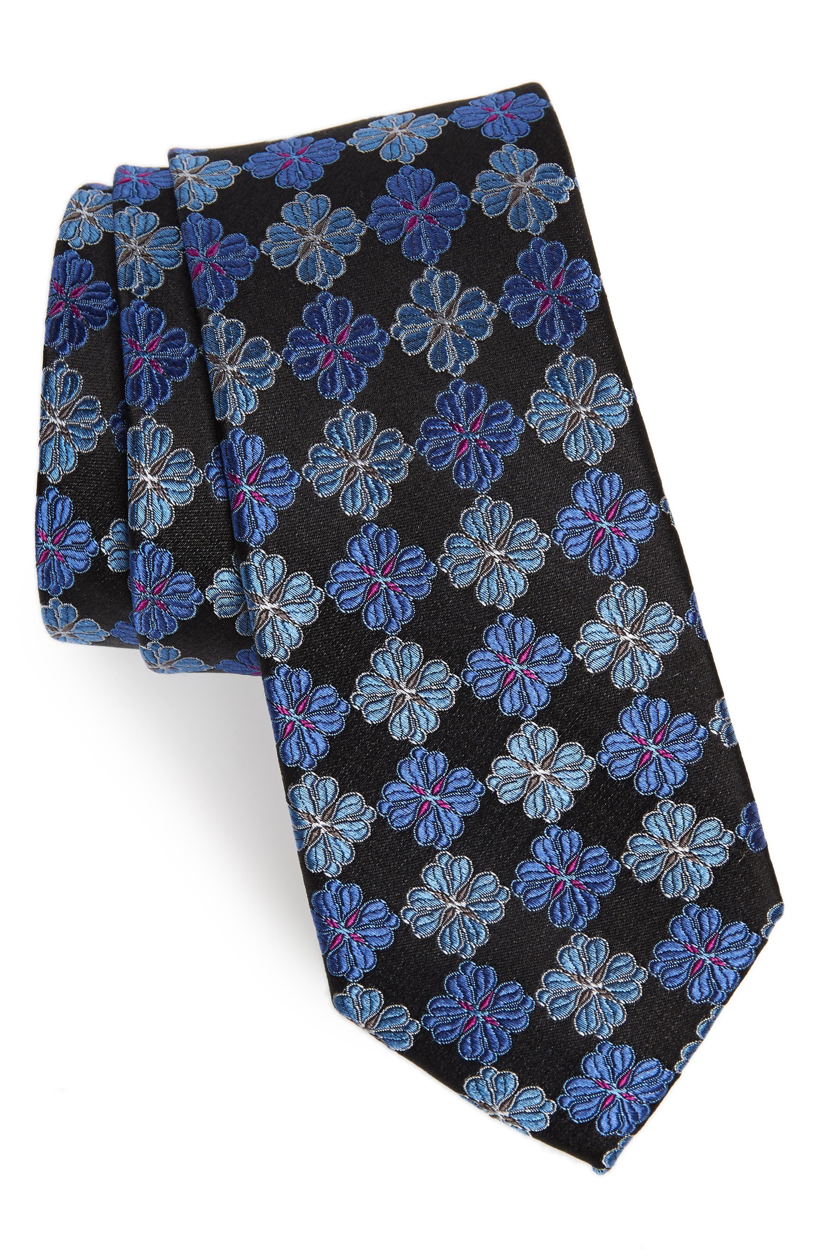 Cole Floral Silk Tie,                         Main,                         color, ONYX