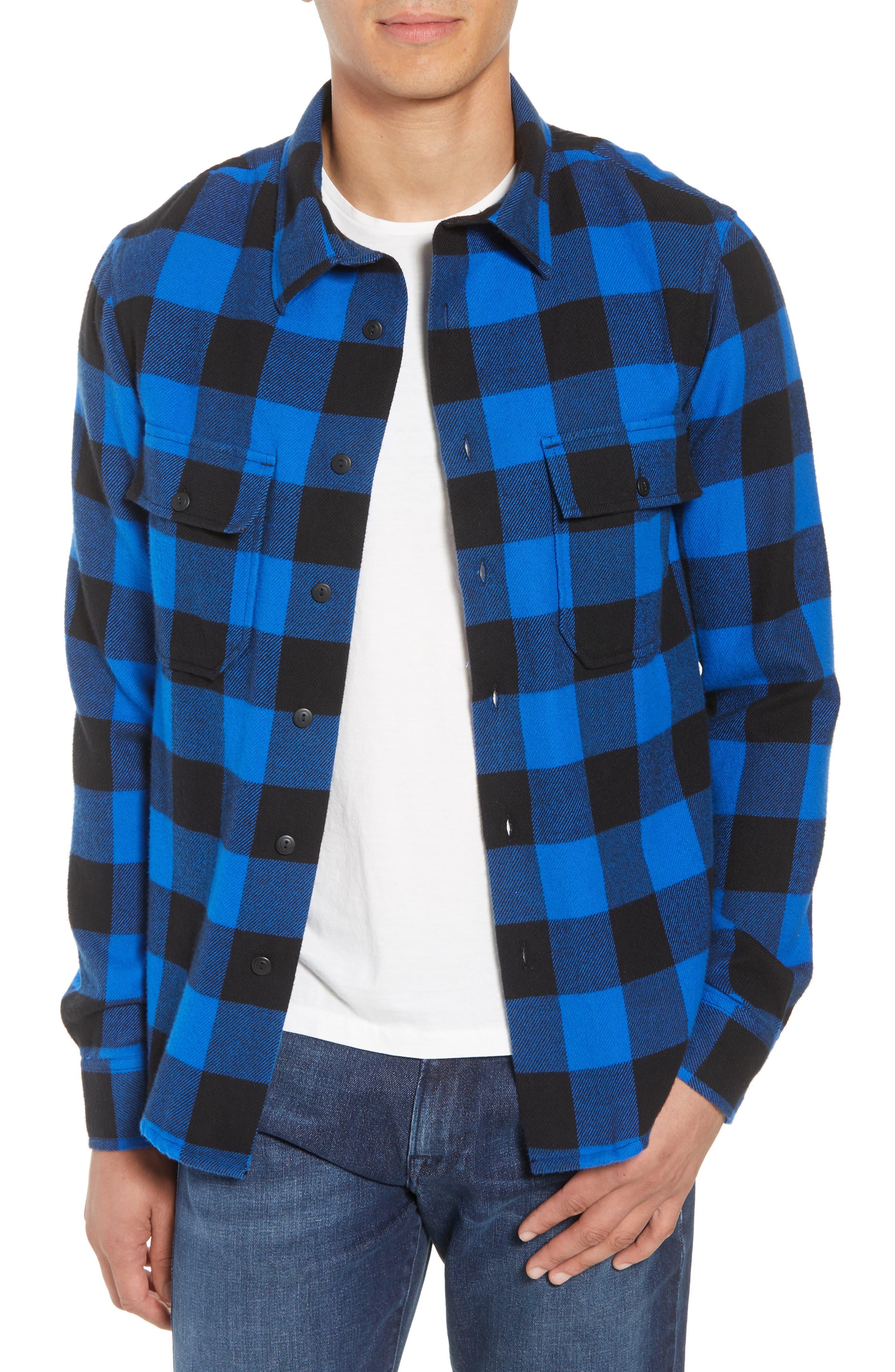 FRAME,                             Classic Fit Buffalo Plaid Shirt Jacket,                             Main thumbnail 1, color,                             400