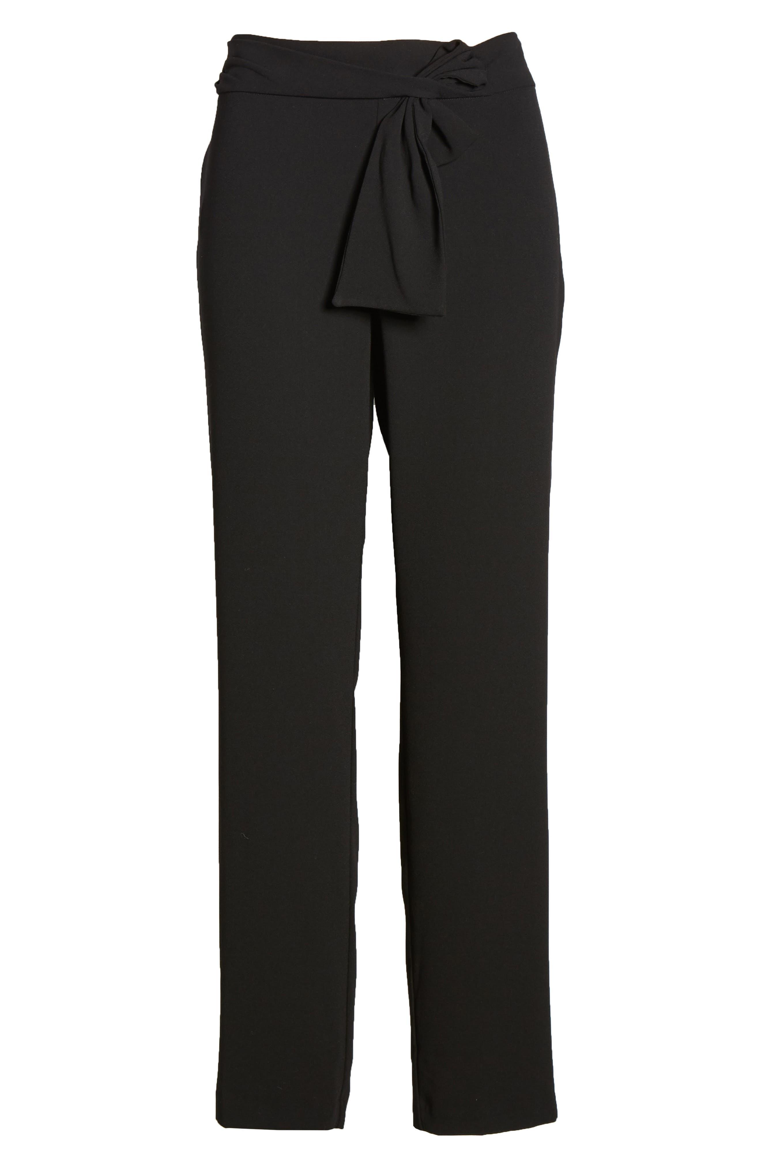 Tie Waist Moss Crepe Pants,                             Alternate thumbnail 6, color,                             RICH BLACK