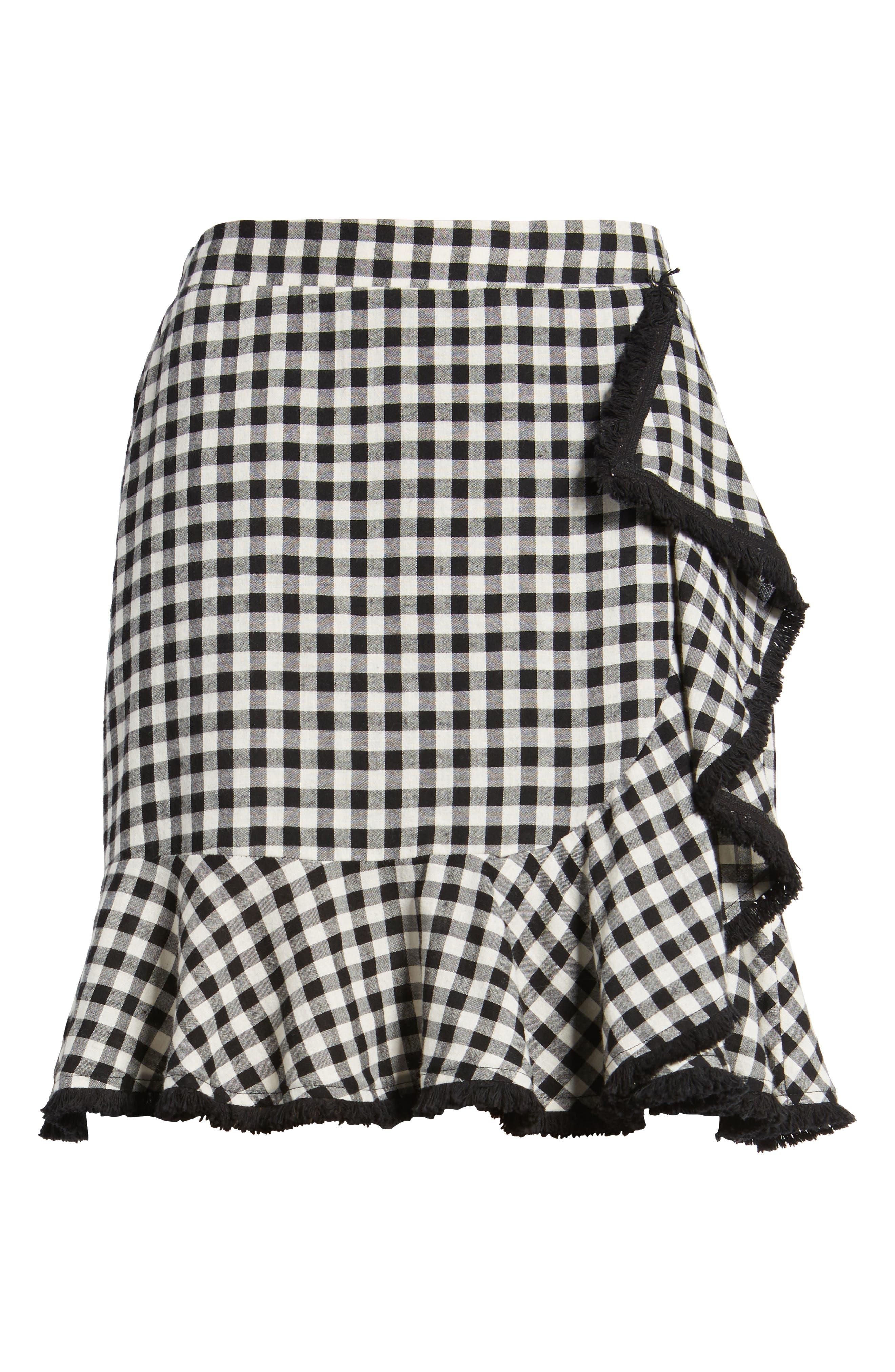 Ruffle Trim Gingham Skirt,                             Alternate thumbnail 6, color,                             001
