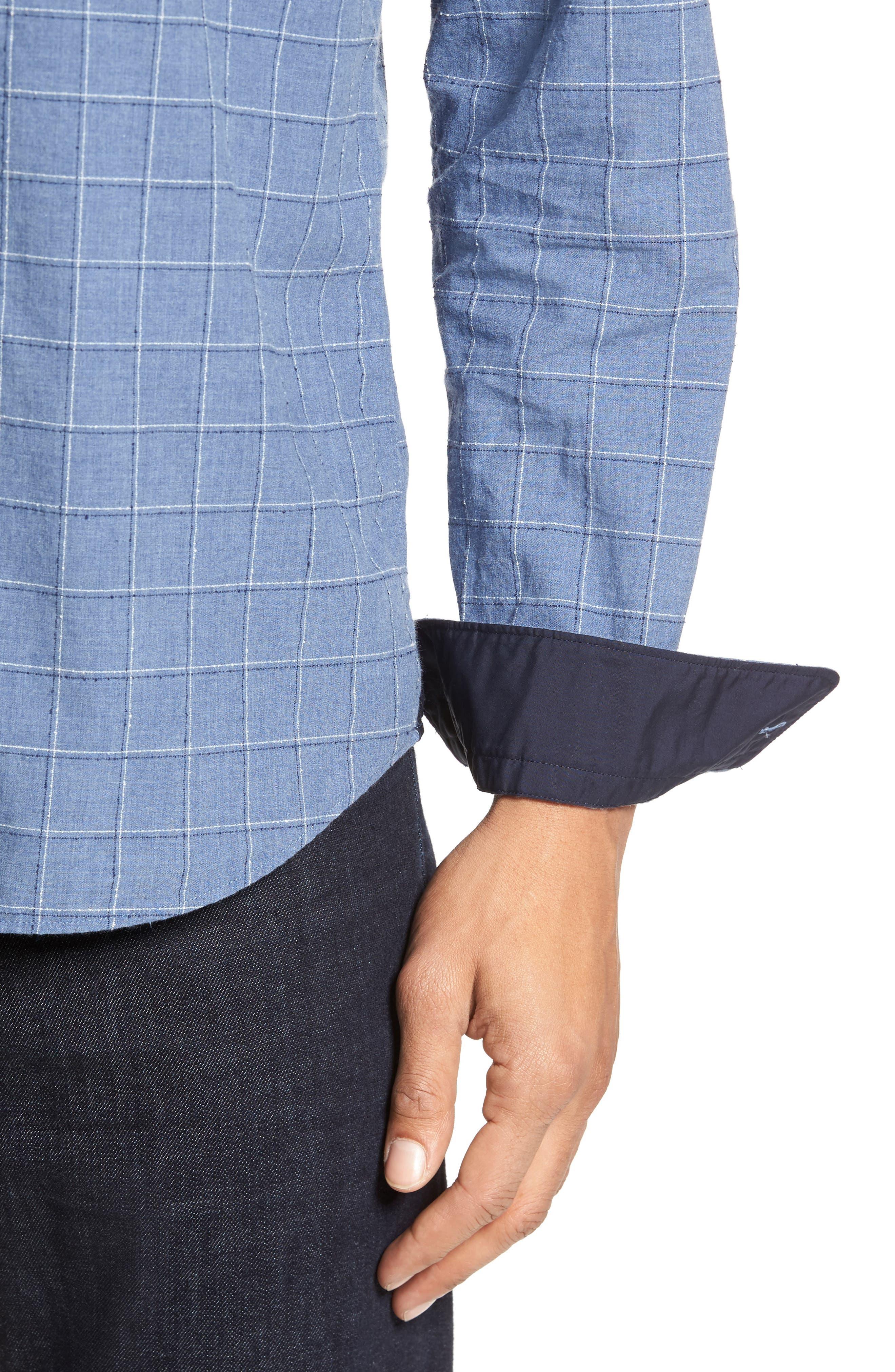 BOSS Lance Slim Fit Check Sport Shirt,                             Alternate thumbnail 4, color,                             489