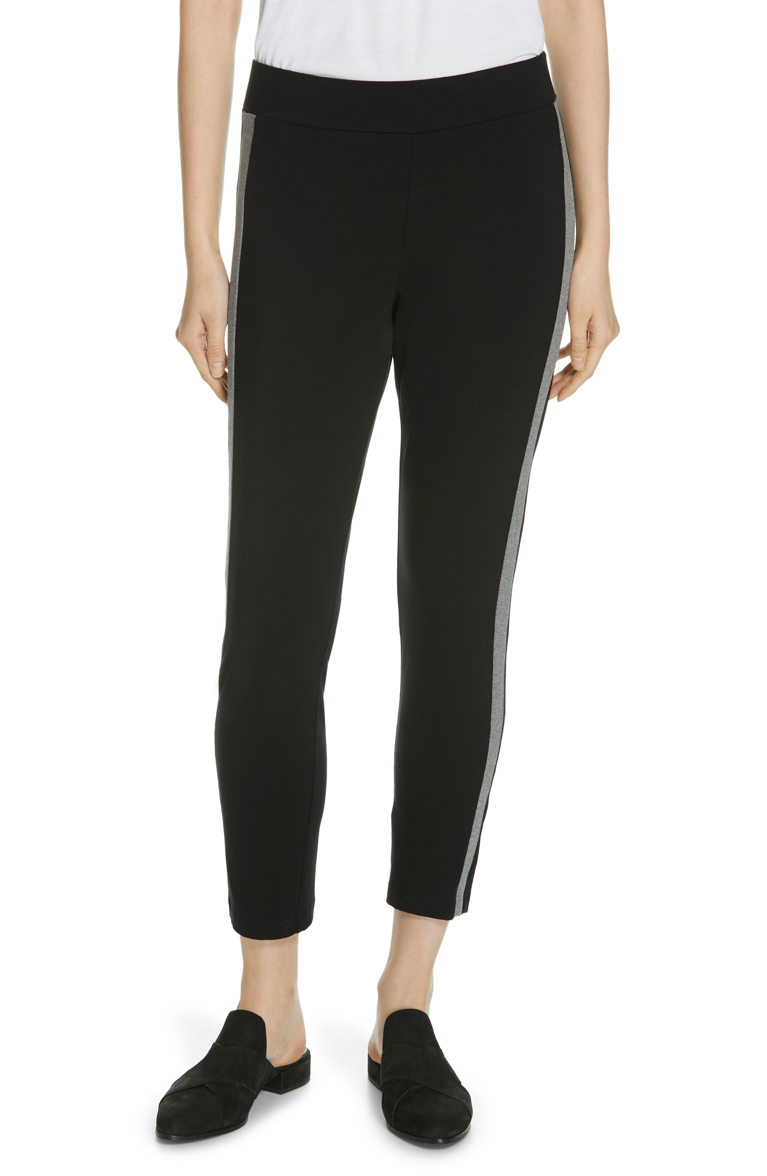 Side Stripe Slim Pants, Main, color, BLACK