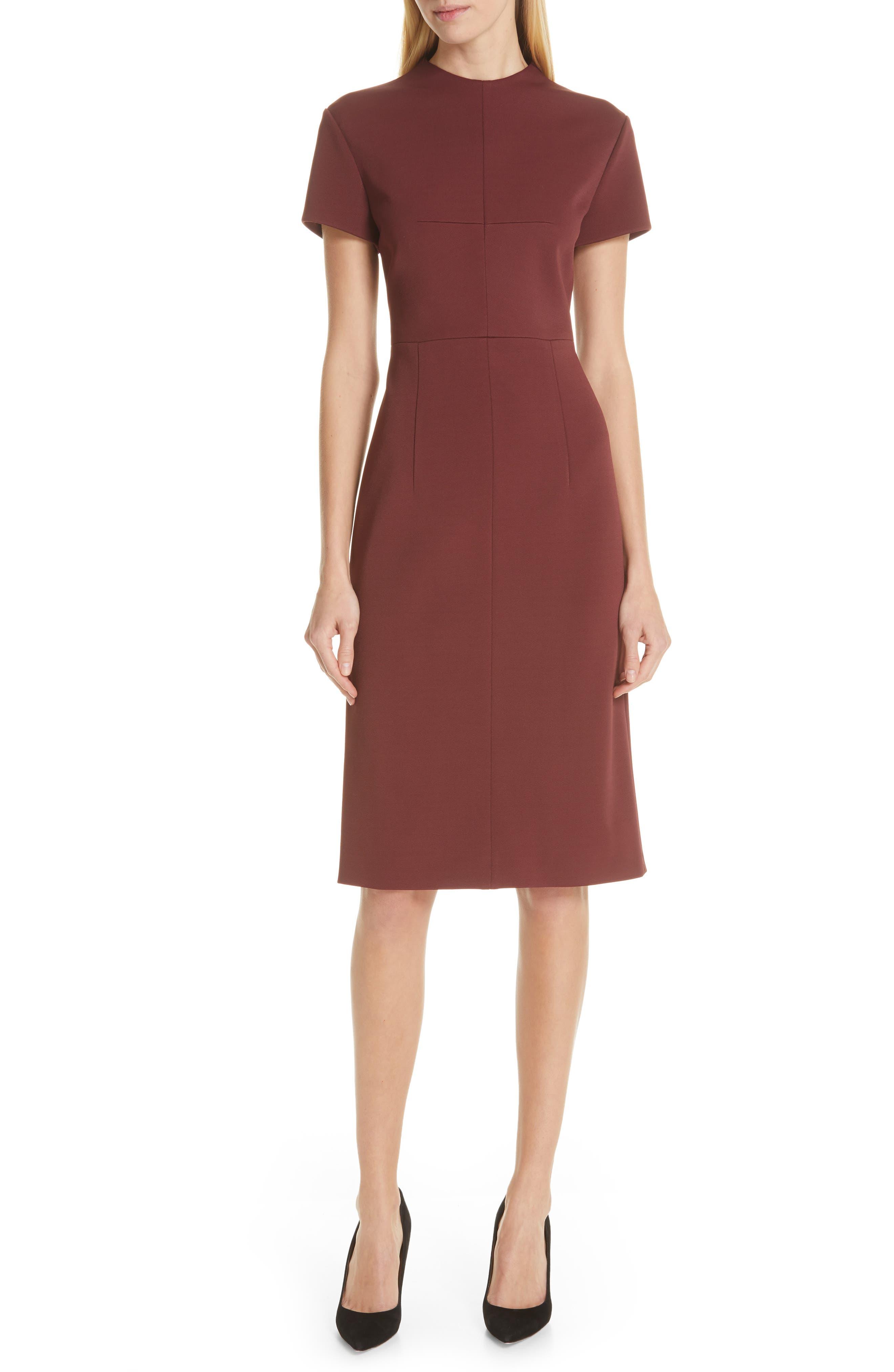 Demiara Sheath Dress,                             Main thumbnail 1, color,                             DARK AUBURN
