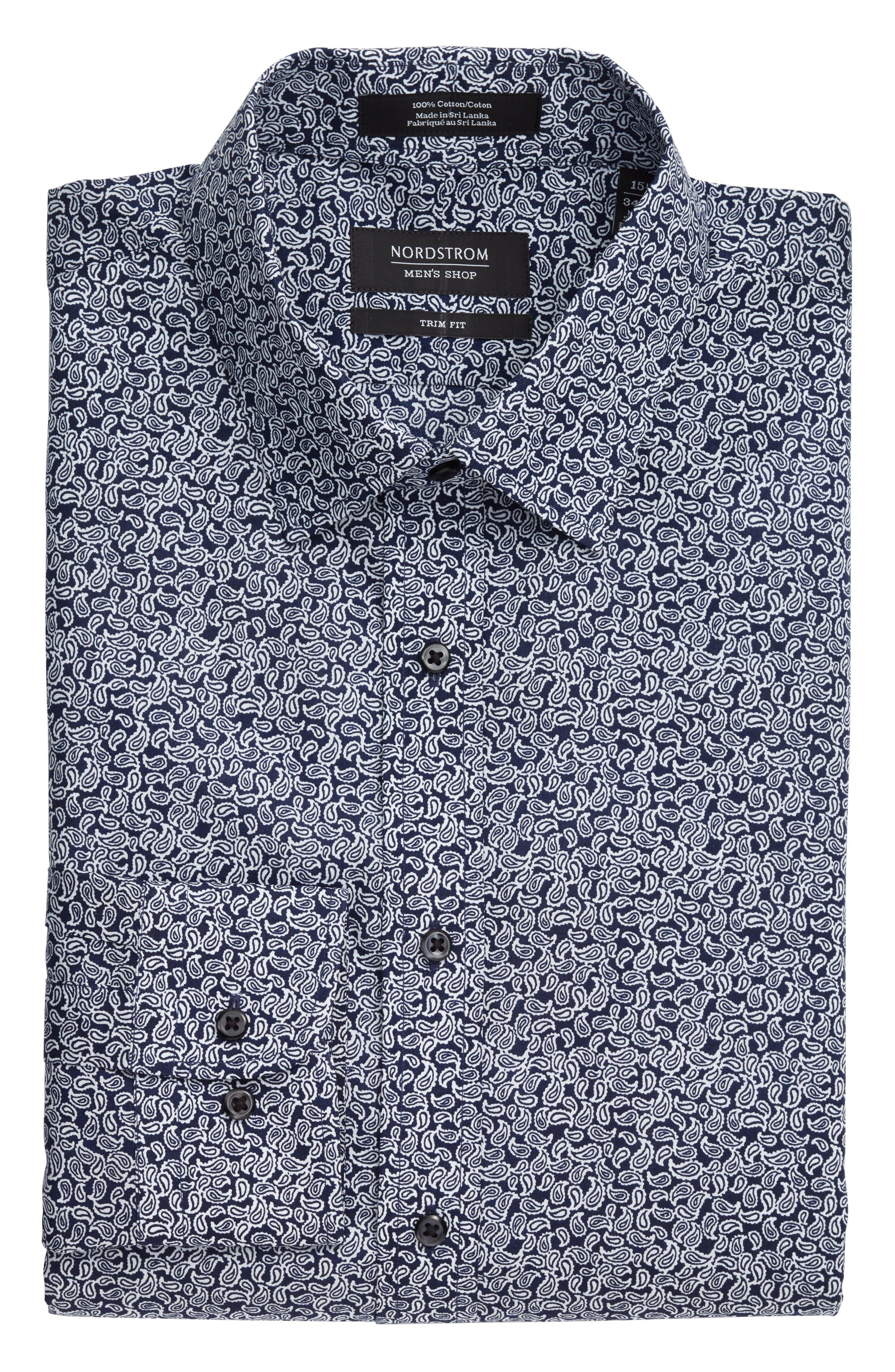 Trim Fit Paisley Dress Shirt,                             Alternate thumbnail 3, color,                             410