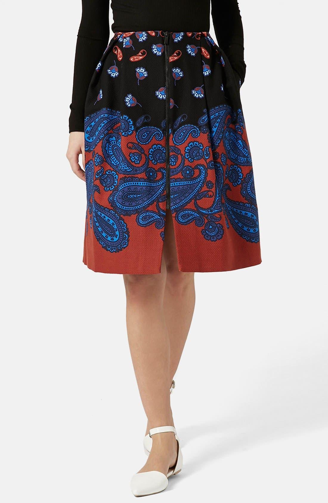 TOPSHOP,                             Paisley Midi Skirt,                             Main thumbnail 1, color,                             001