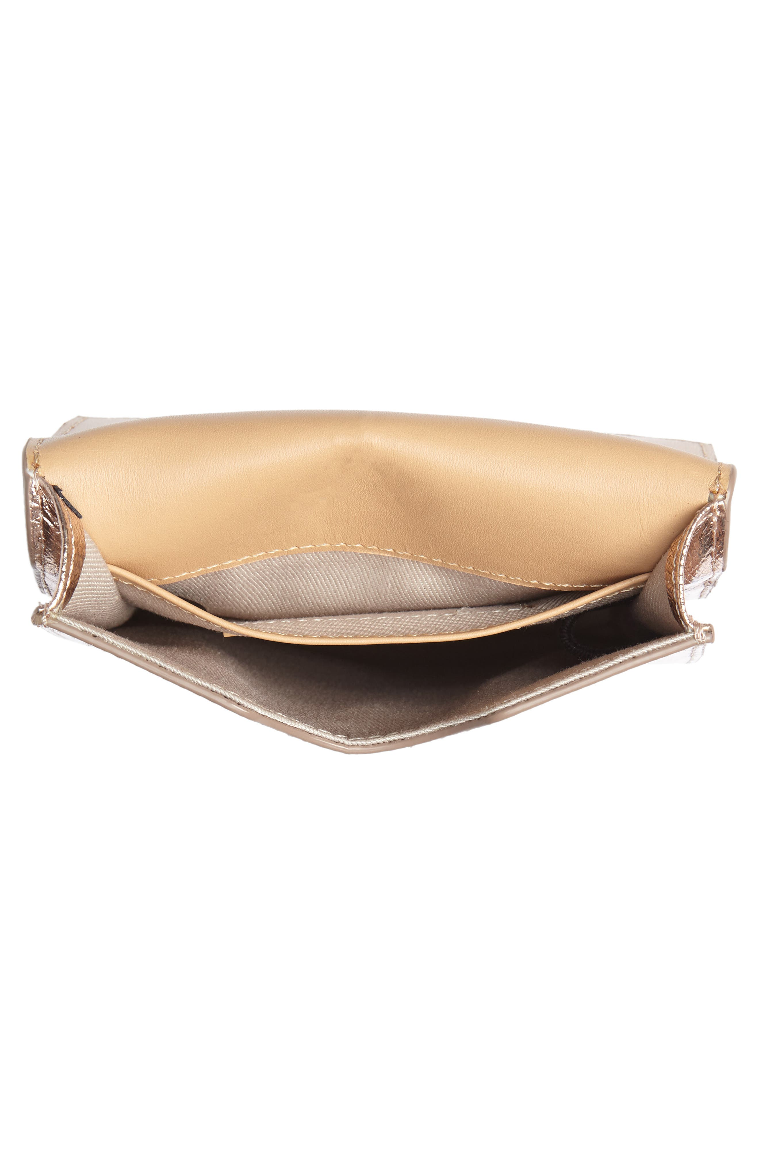 Metallic Leather Phone Crossbody Bag,                             Alternate thumbnail 4, color,                             220