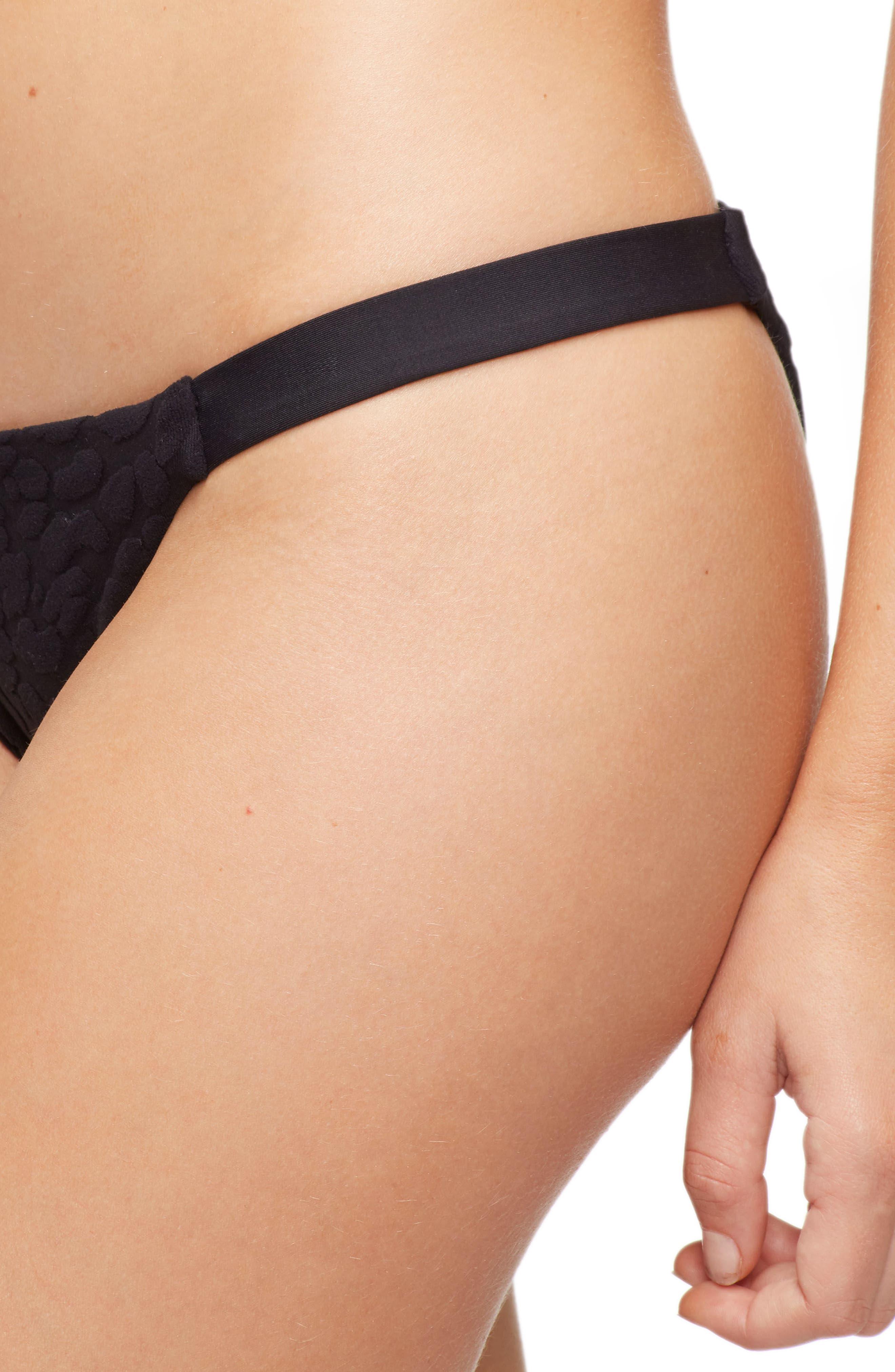 Heather Bikini Bottoms,                             Alternate thumbnail 4, color,                             TEXTURED CHEETAH BLACK