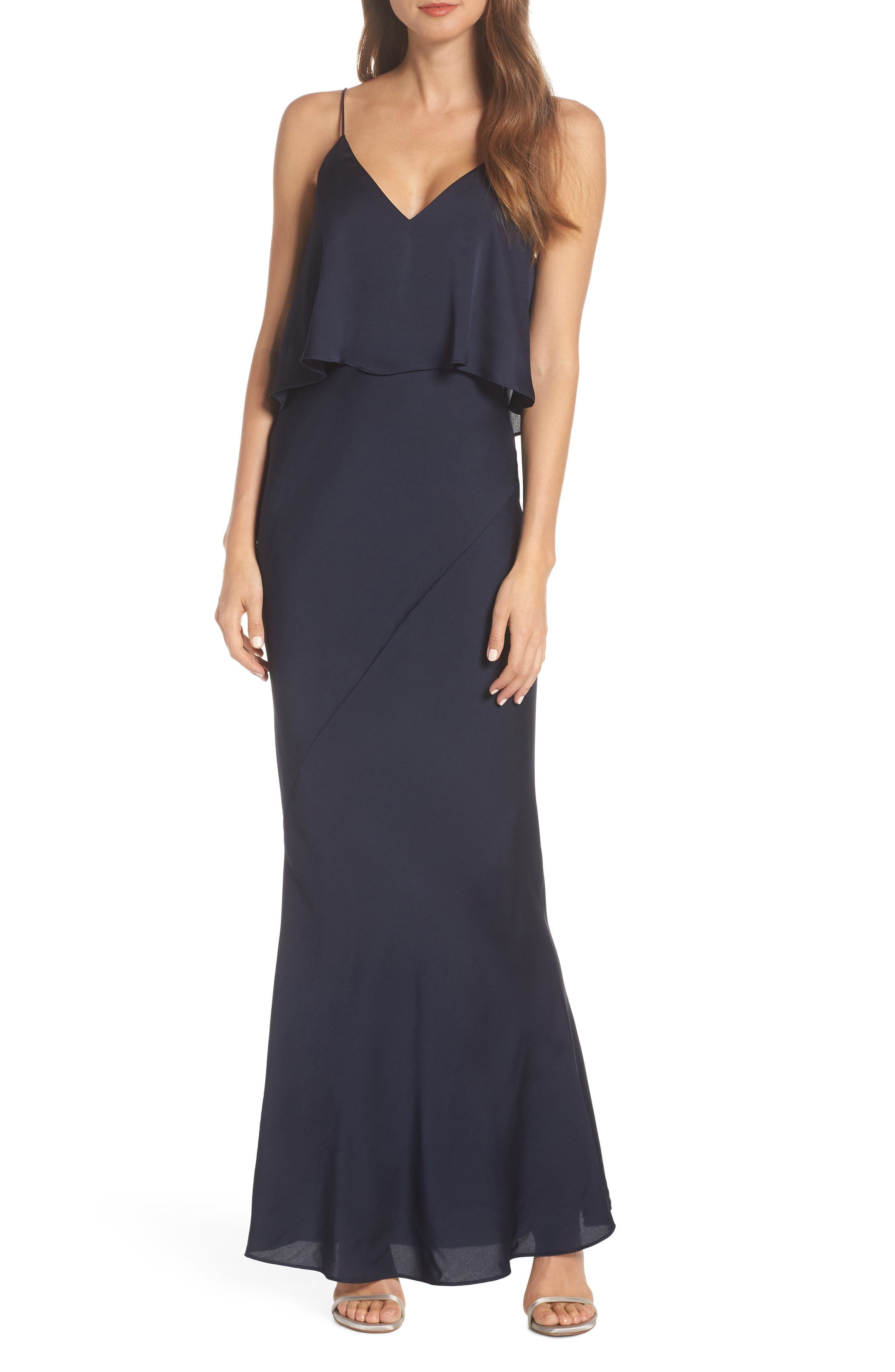 SHONA JOY Luxe Frilled Bodice Bias Cut Gown in Sapphire