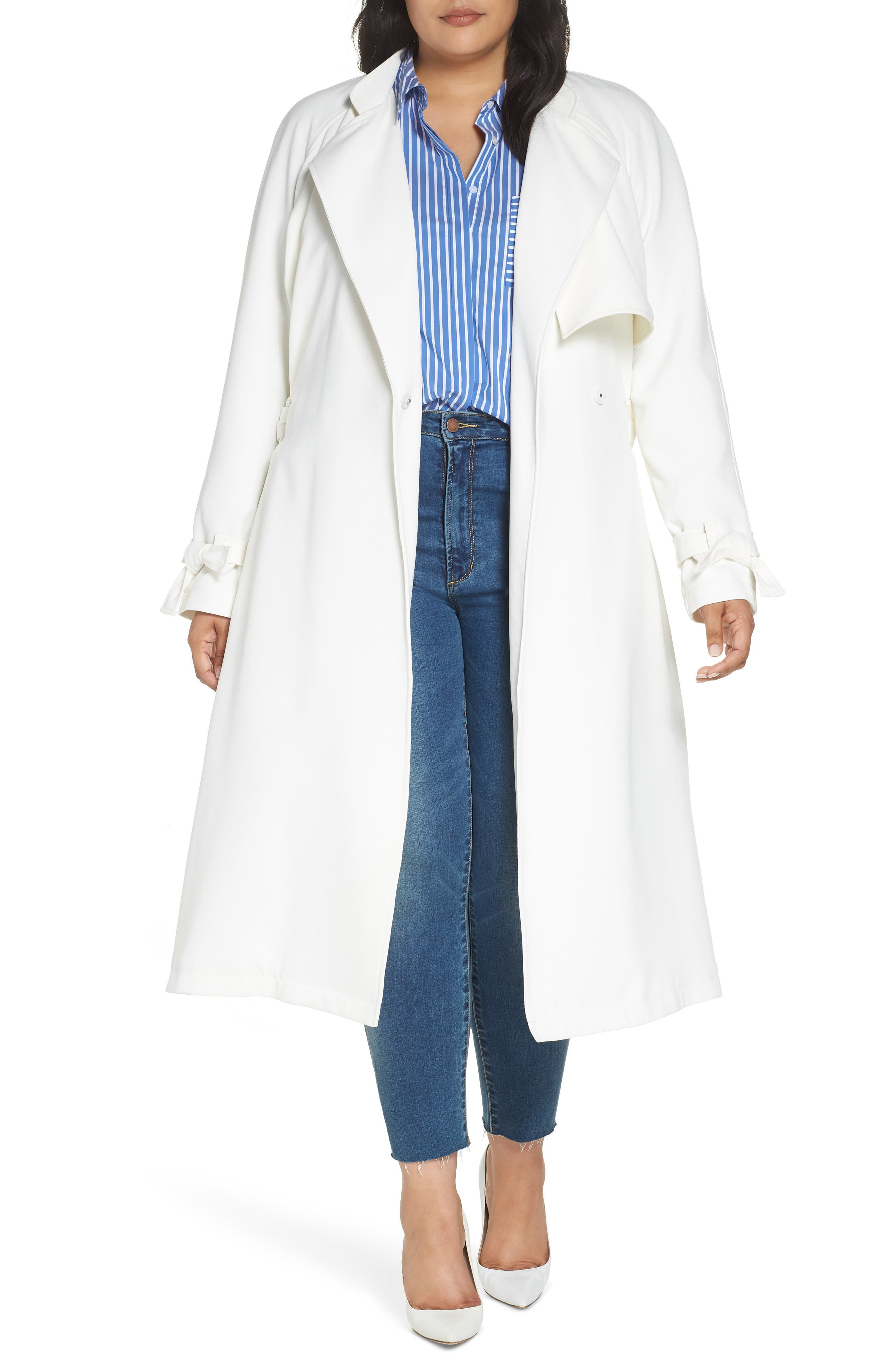 Crepe Trench Coat,                             Main thumbnail 1, color,                             WHITE