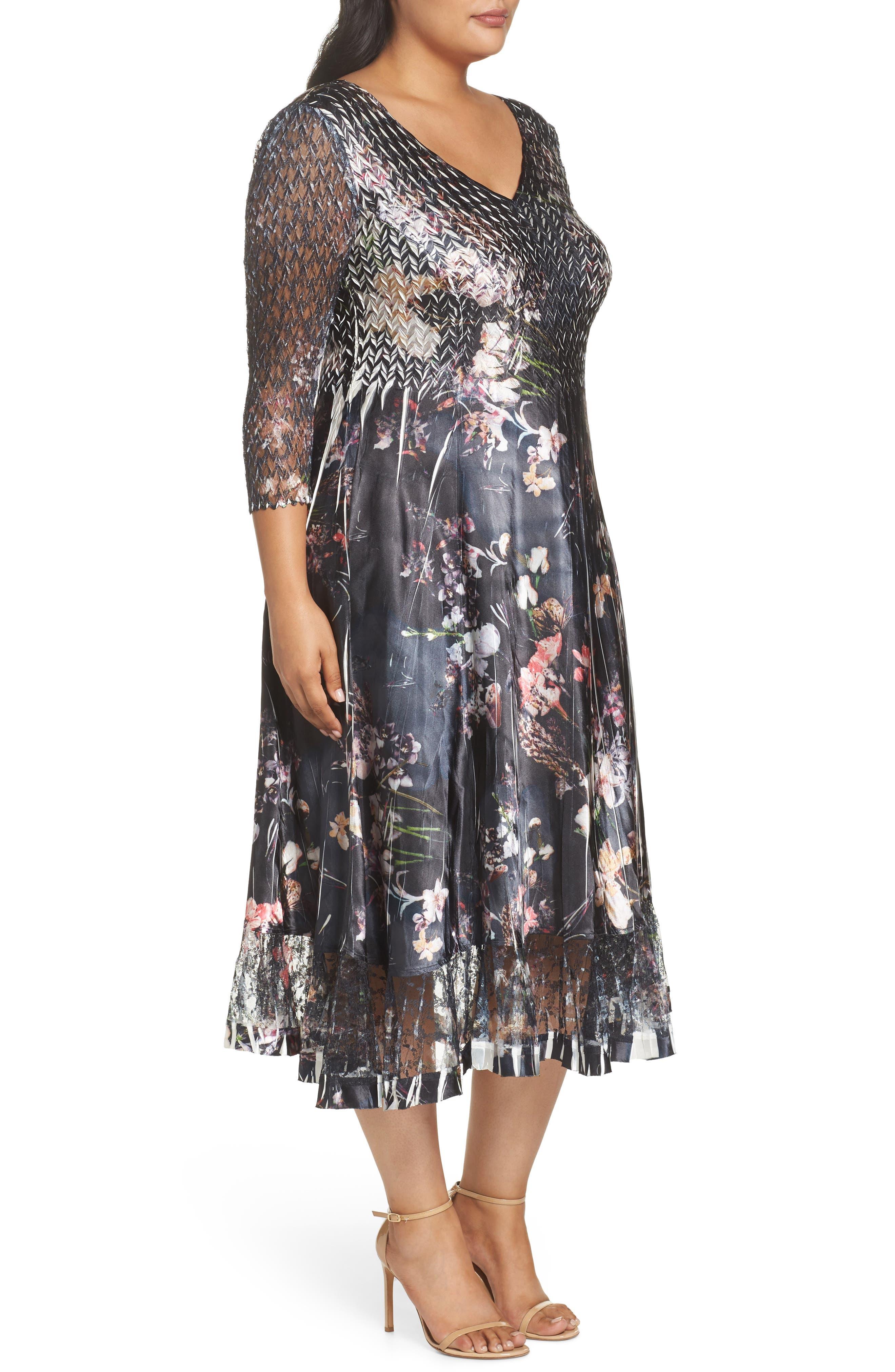 Lace Inset Floral Chiffon A-Line Dress,                             Alternate thumbnail 3, color,                             404