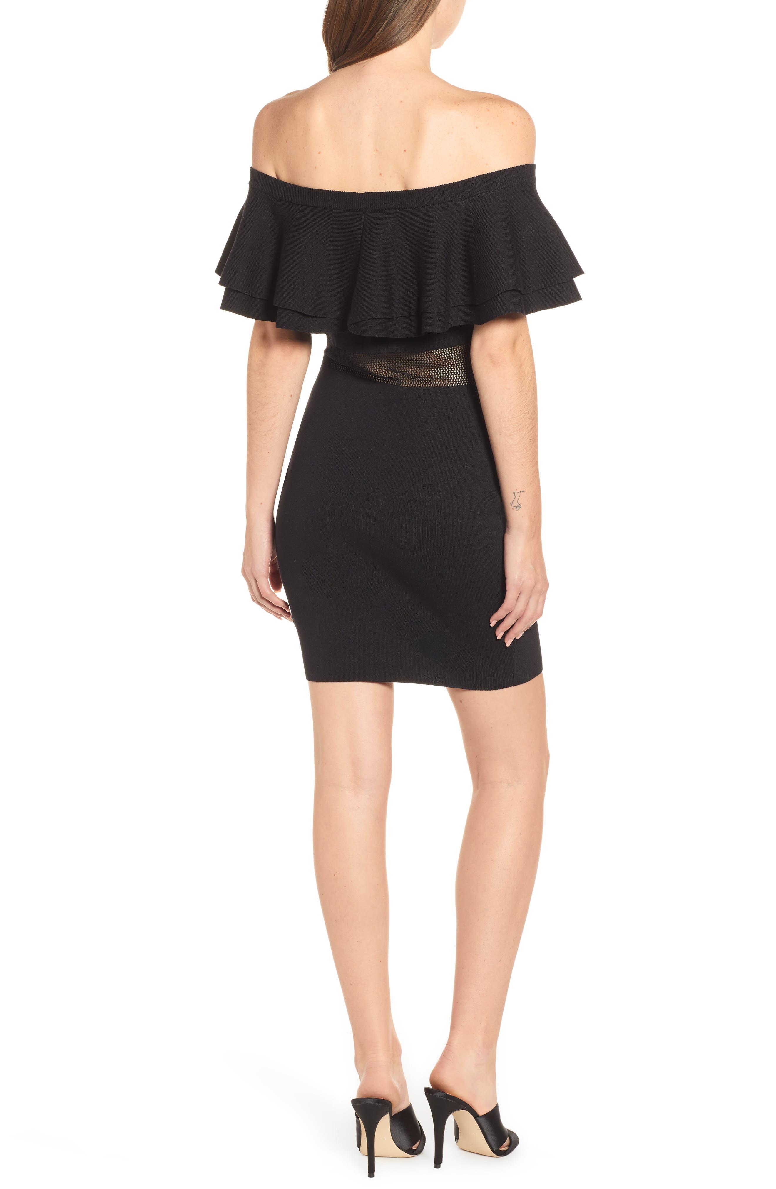 Off the Shoulder Sweater Dress,                             Alternate thumbnail 2, color,                             BLACK