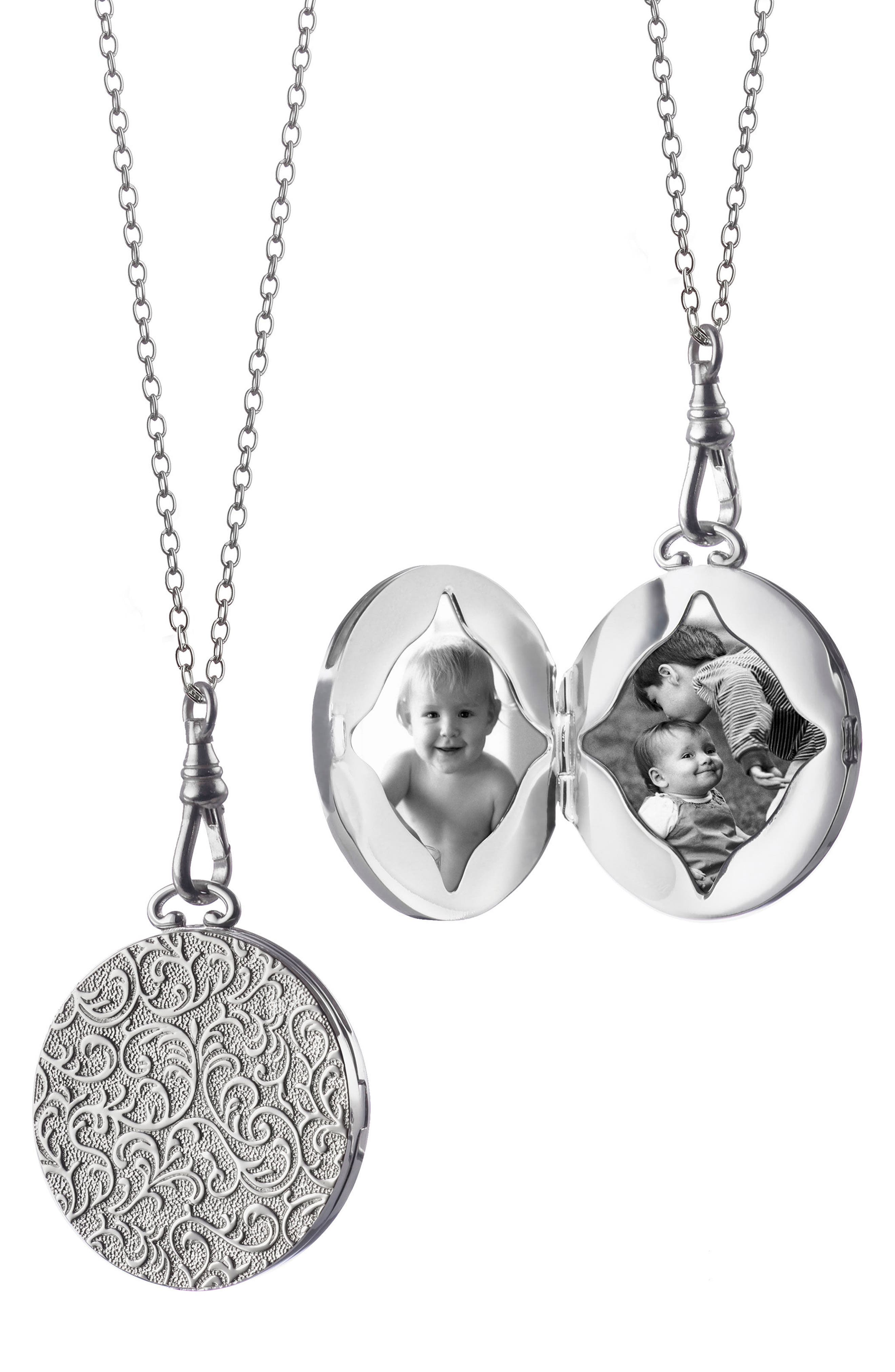 Swirling Vine Round Locket Necklace,                             Alternate thumbnail 4, color,                             STERLING SILVER