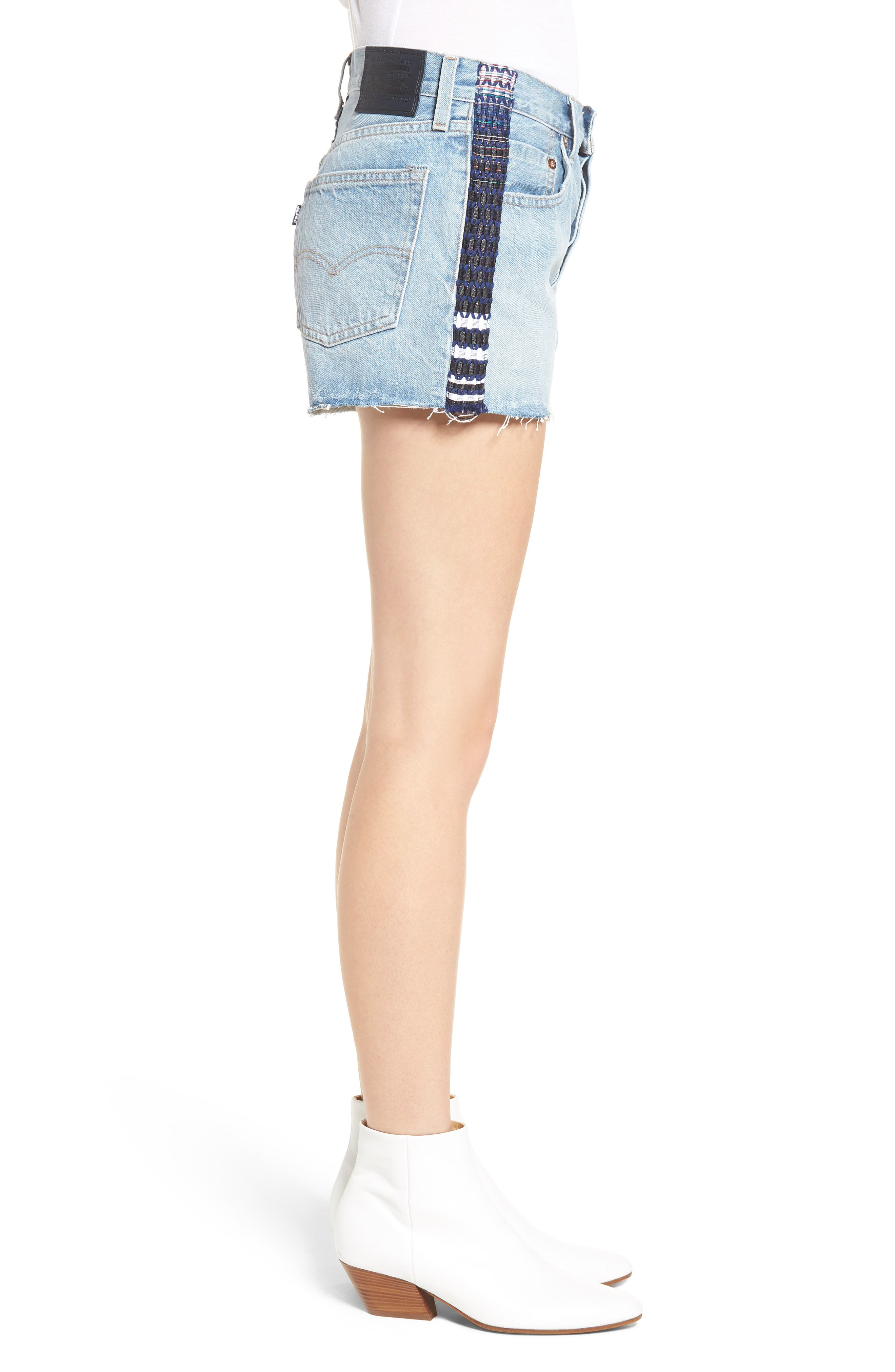 Made & Crafted<sup>™</sup> 501<sup>®</sup> Embroidered Cutoff Denim Shorts,                             Alternate thumbnail 3, color,                             LMC SKIPPER