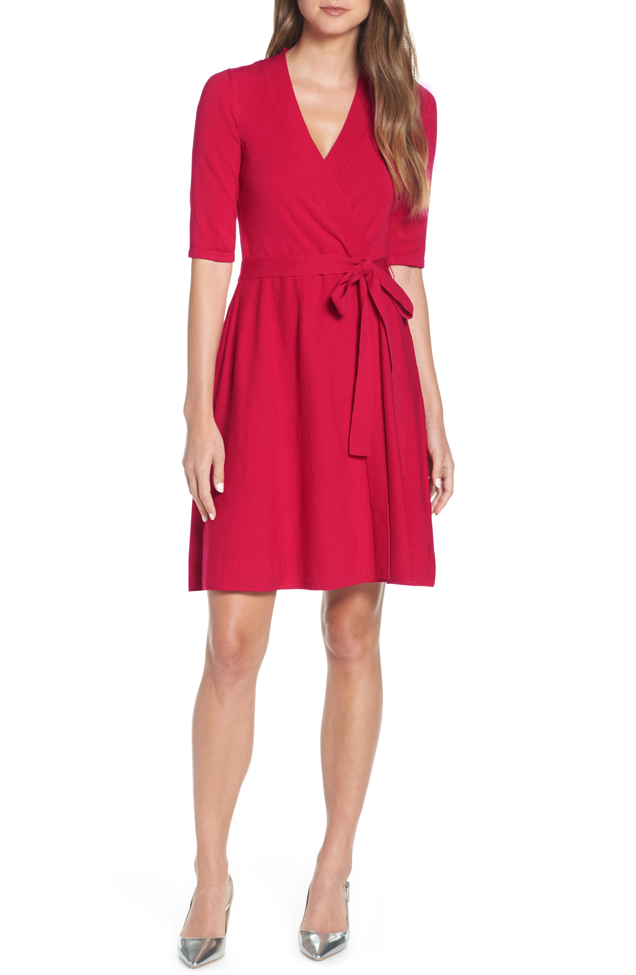 Eliza J Fit & Flare Wrap Sweater Dress, Pink