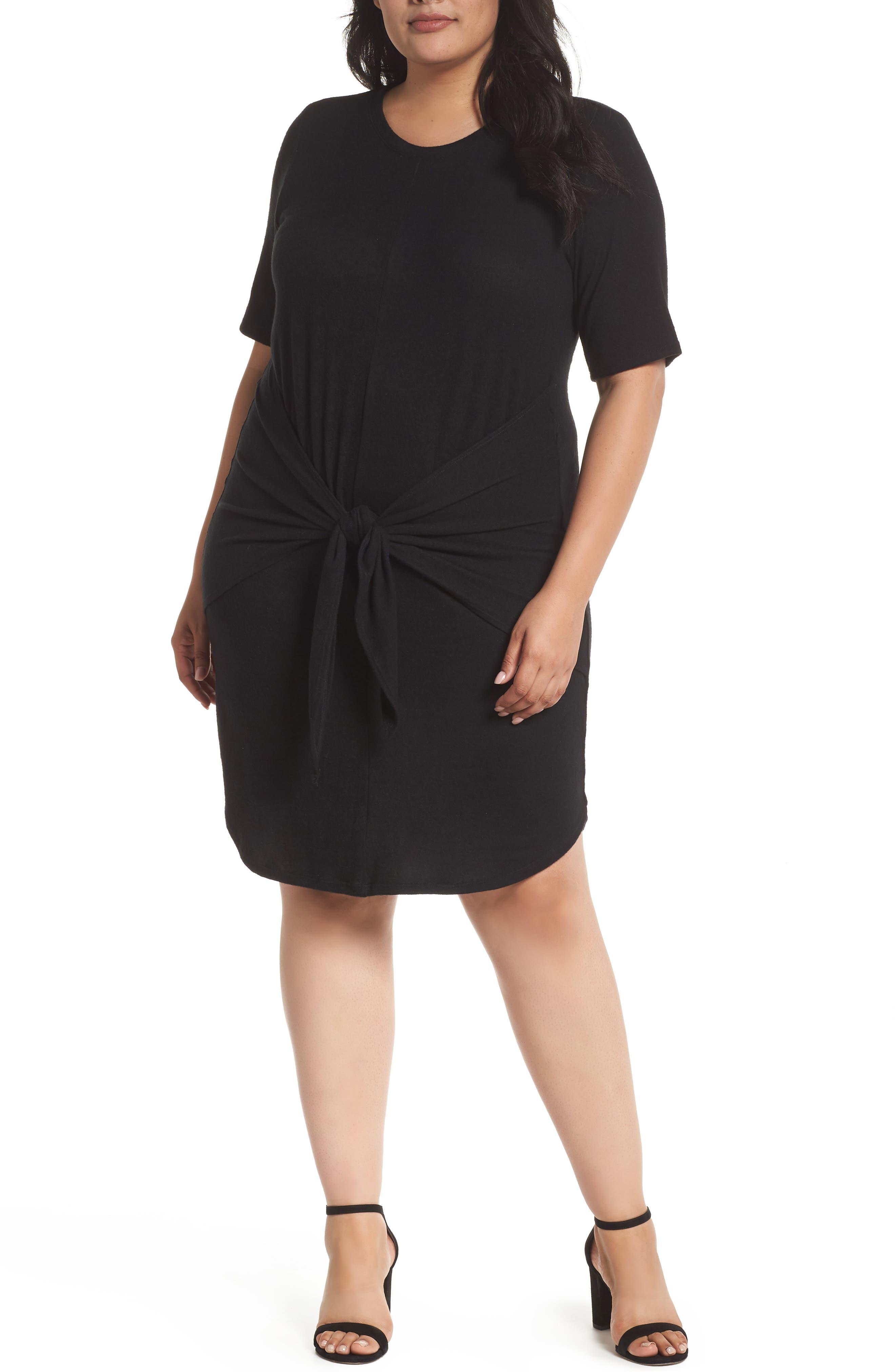 Off-Duty Tie Front Knit Dress,                         Main,                         color, 001