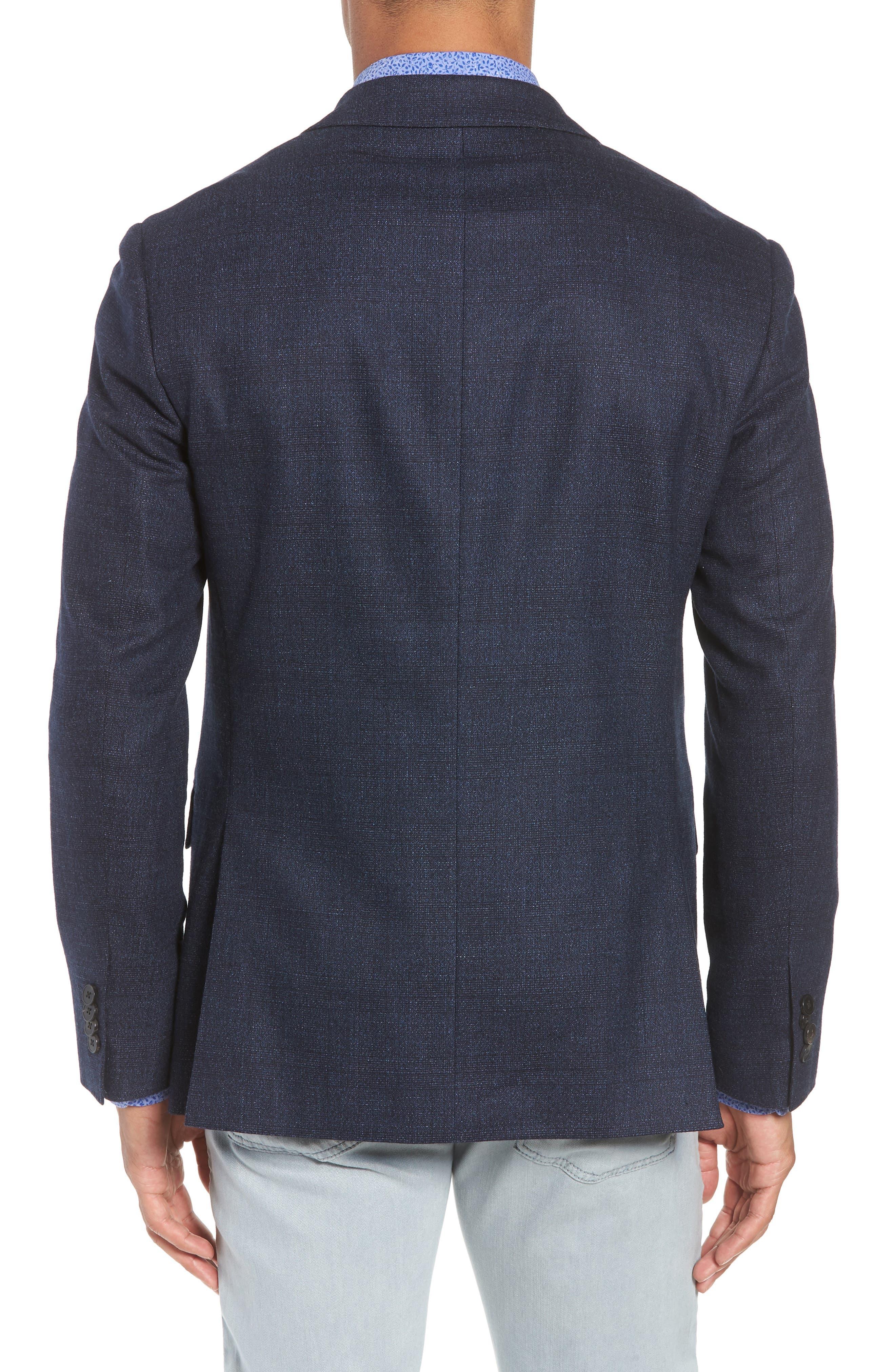 Dannevirk Ghost Check Stretch Wool Blend Blazer,                             Alternate thumbnail 2, color,                             NAVY