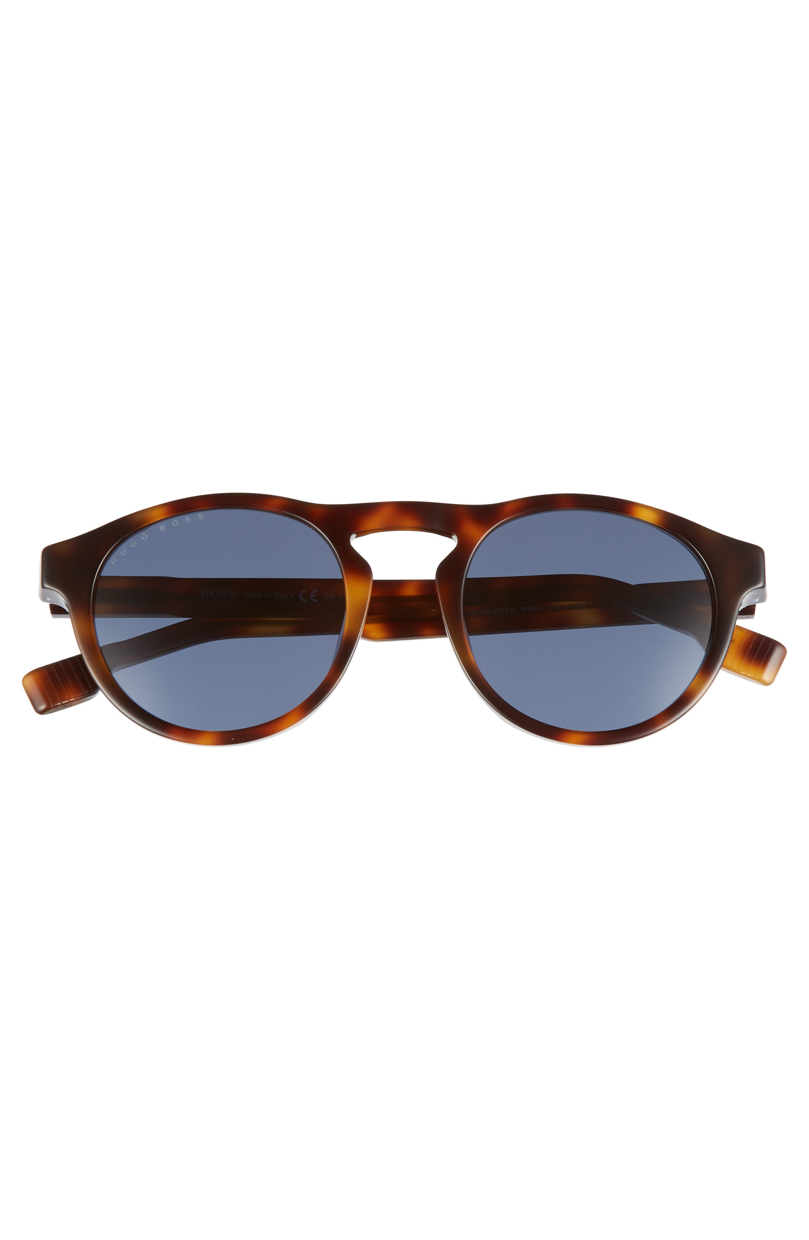 50mm Polarized Round Sunglasses,                             Alternate thumbnail 2, color,                             HAVANA/ BLUE