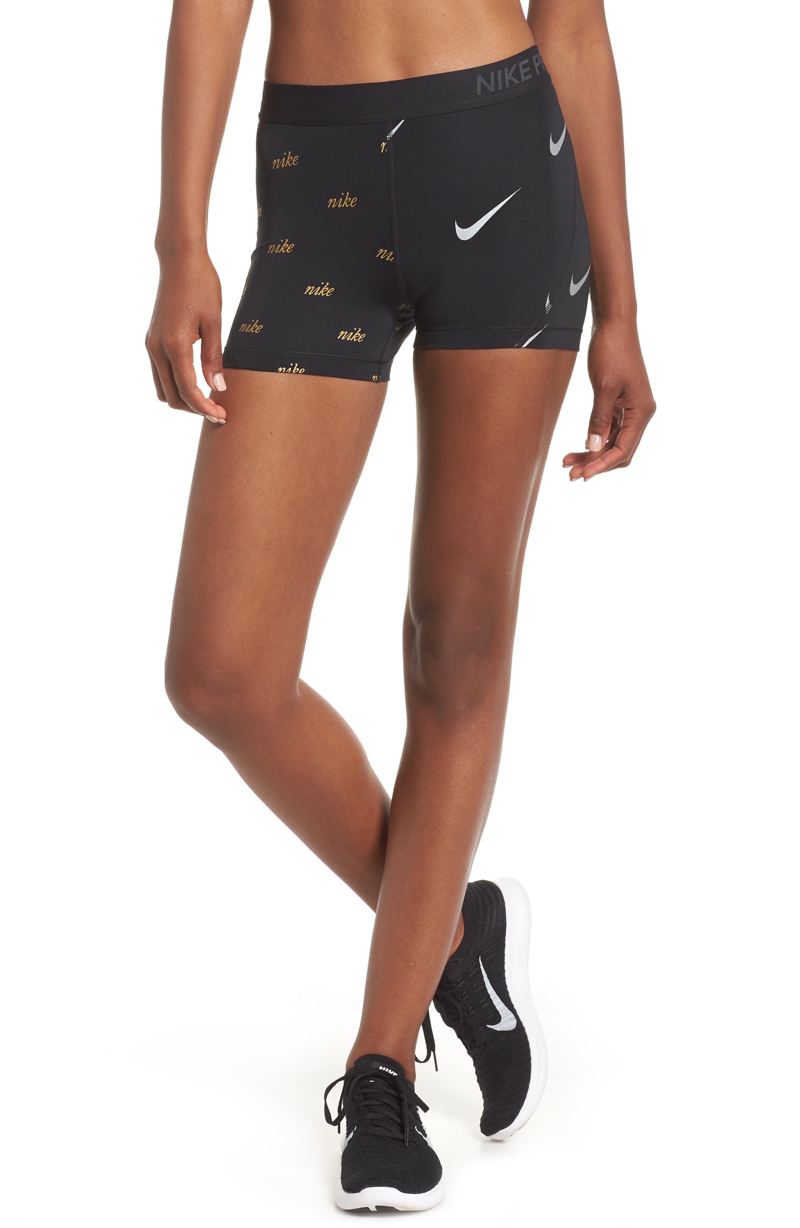 Pro Metallic Shorts,                         Main,                         color, BLACK