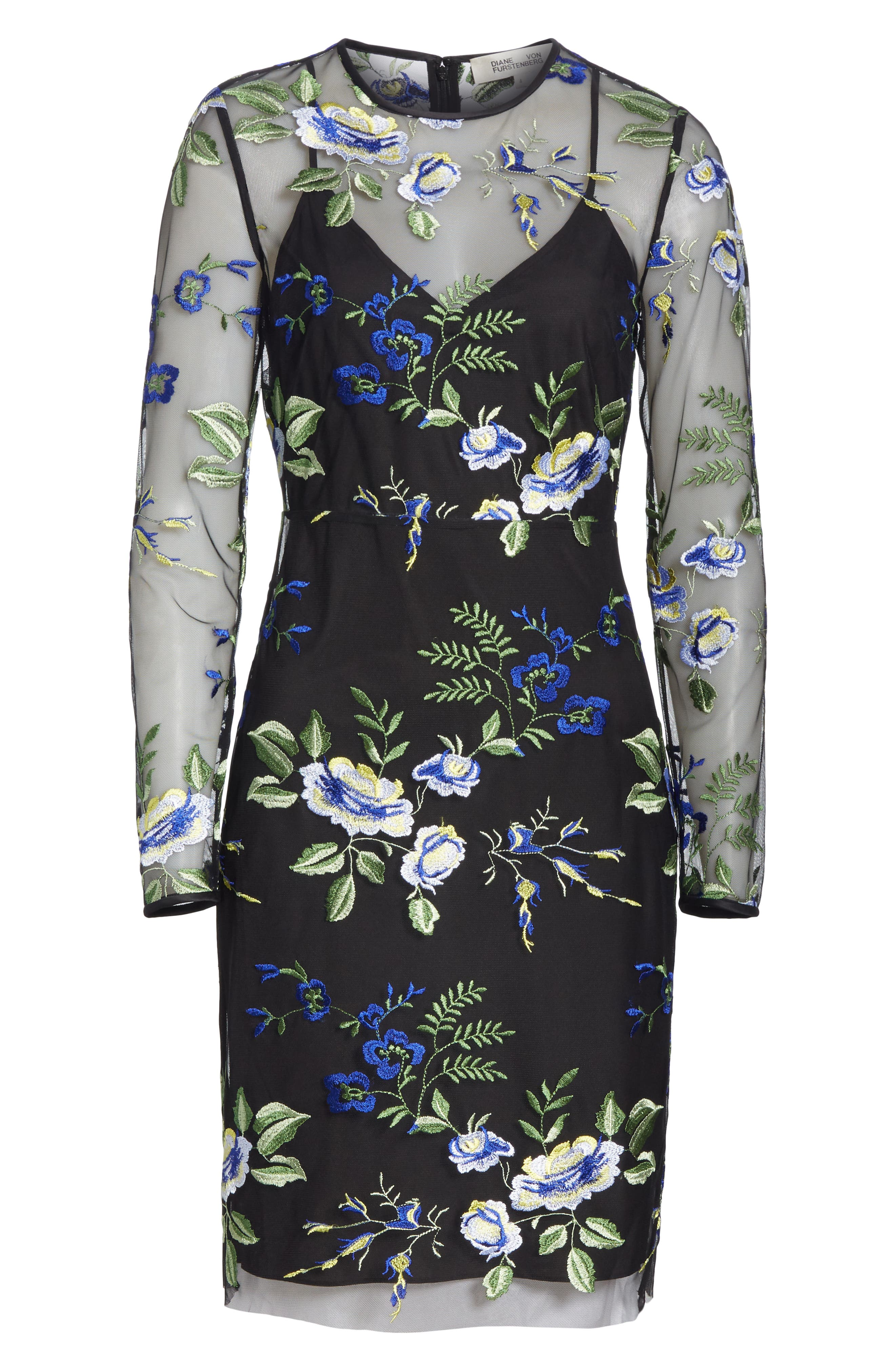 Embroidered Overlay Dress,                             Alternate thumbnail 6, color,                             002