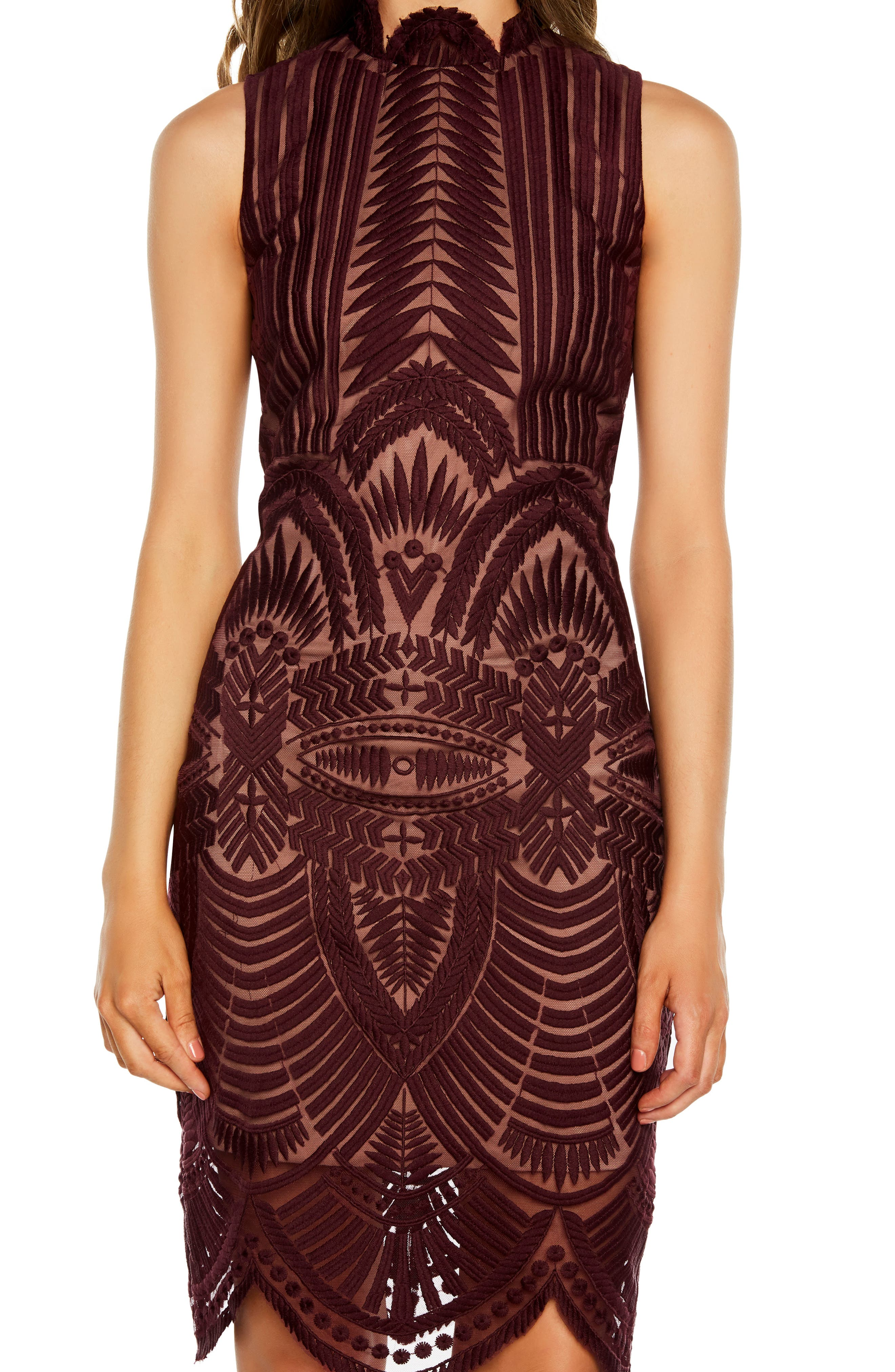 Alice Lace Body-Con Dress,                             Alternate thumbnail 4, color,                             PINOT NOIR