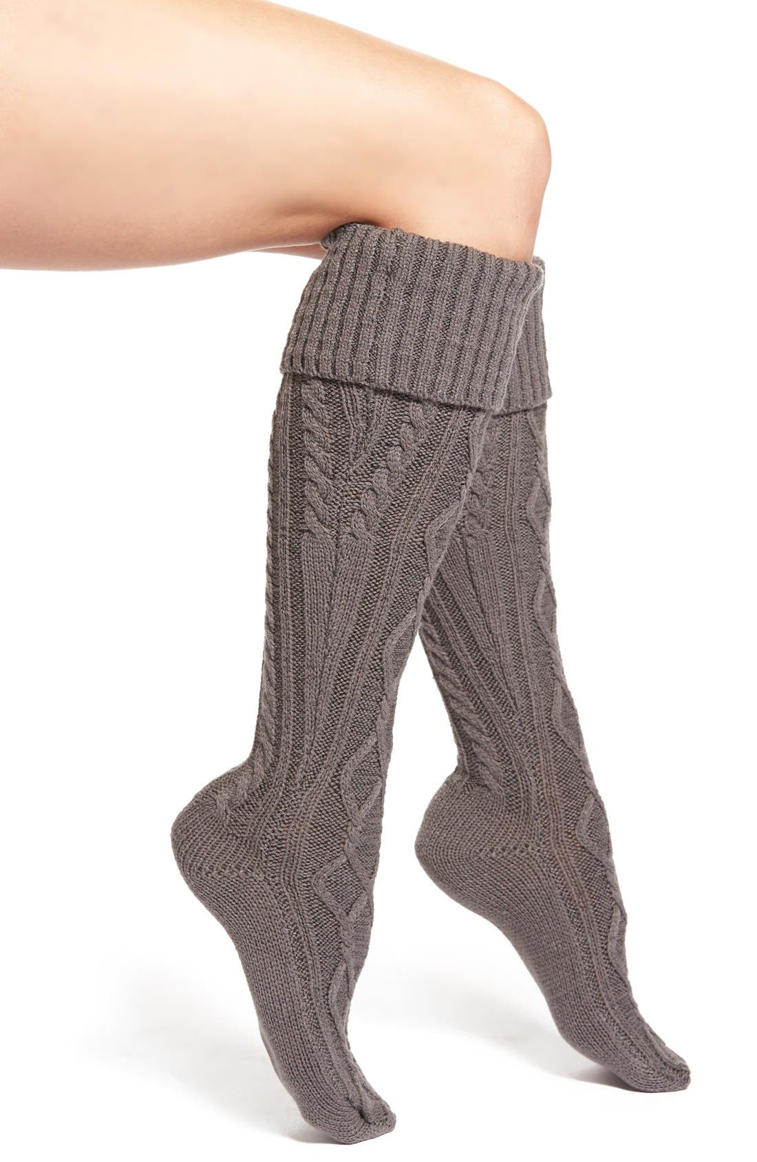 FREE PEOPLE,                             Cable Knit Knee High Socks,                             Main thumbnail 1, color,                             003