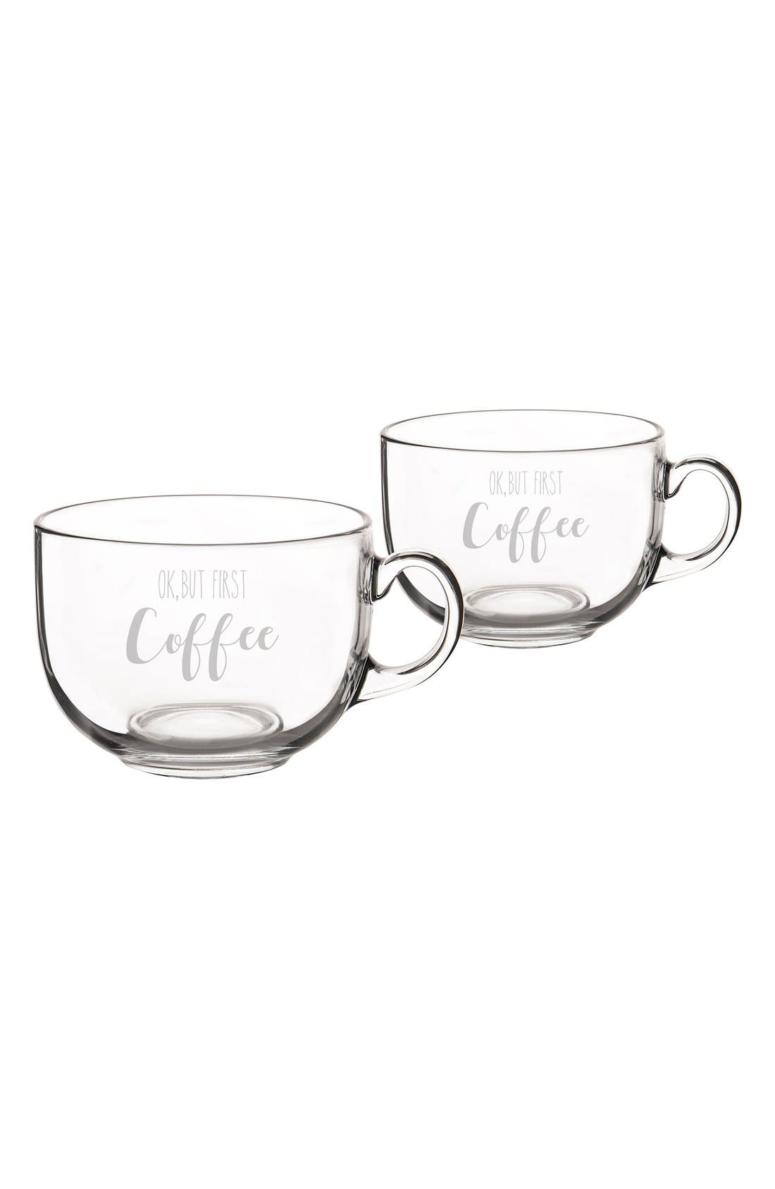 But First Coffee Set of 2 Glass Mugs,                             Alternate thumbnail 2, color,                             100