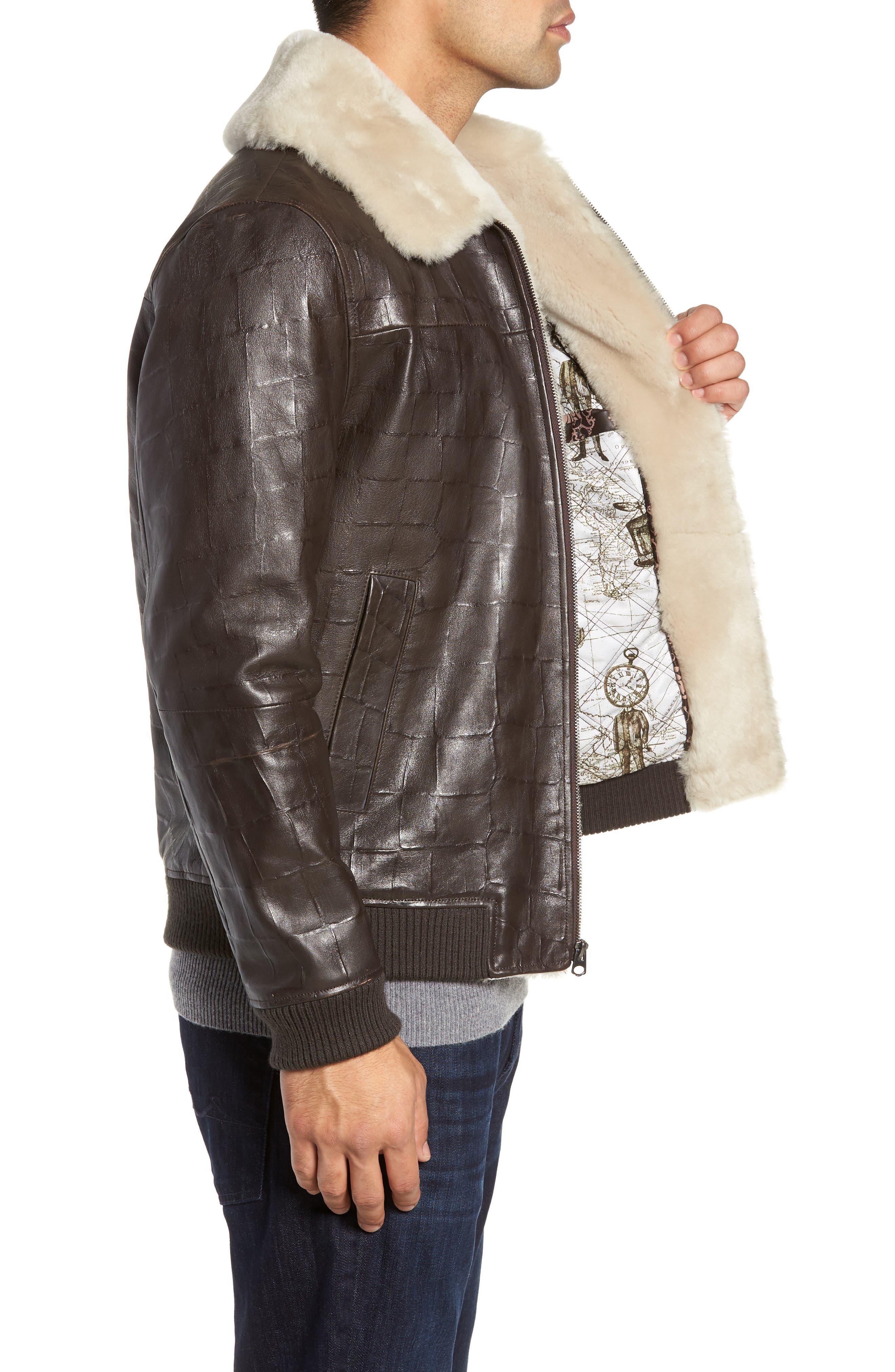 Corson Genuine Shearling Jacket,                             Alternate thumbnail 3, color,                             BROWN