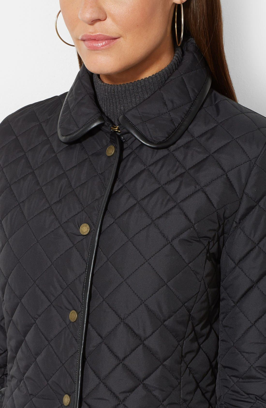 Faux Leather Trim Quilted Jacket,                             Alternate thumbnail 3, color,                             001