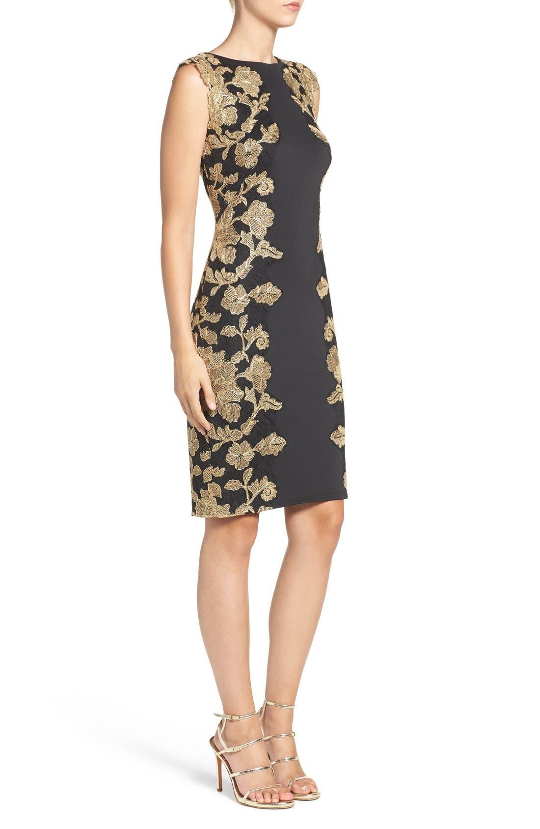 Embroidered Neoprene Sheath Dress,                             Alternate thumbnail 13, color,