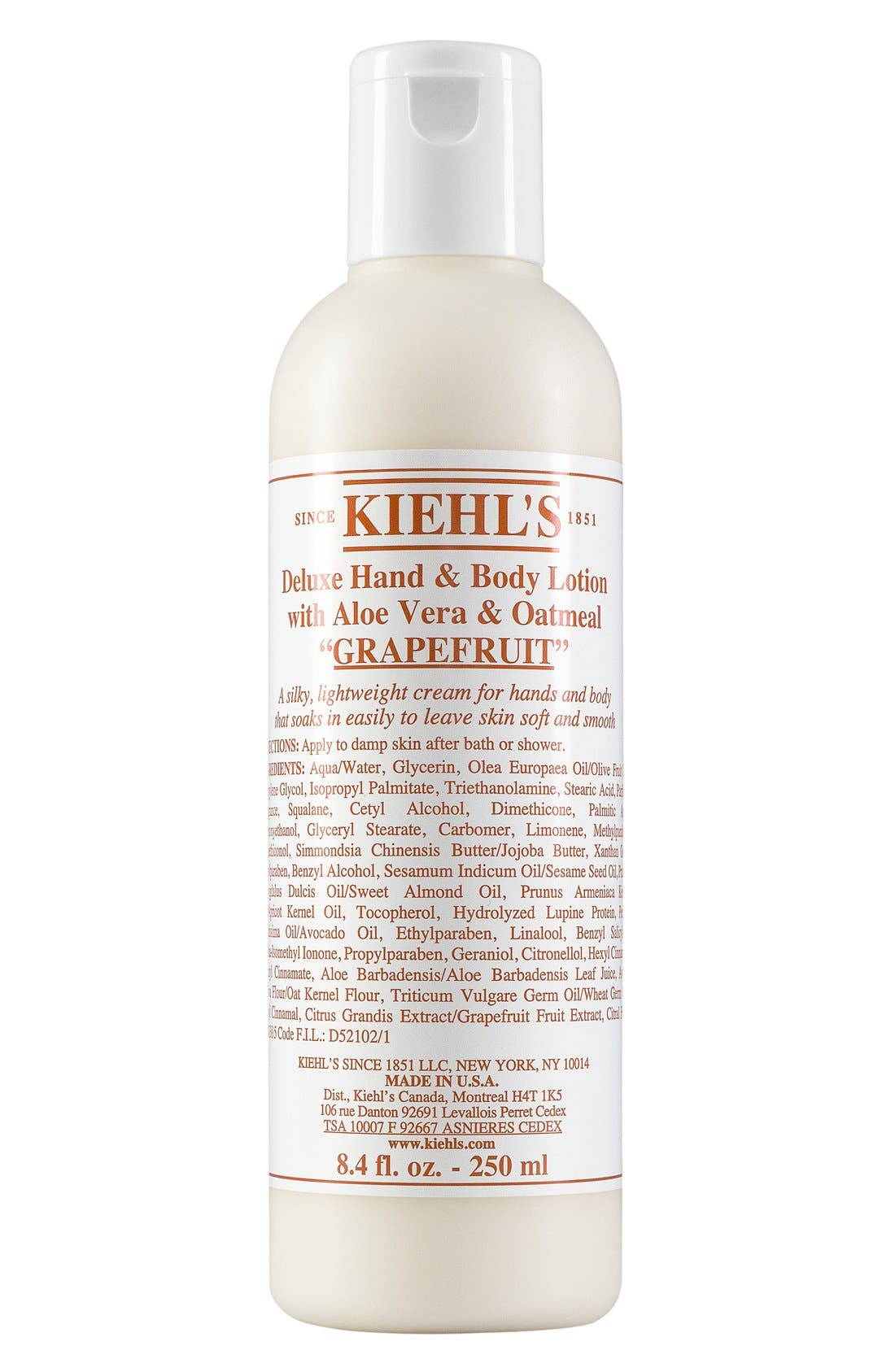 KIEHL'S SINCE 1851 Grapefruit Deluxe Hand & Body Lotion with Aloe Vera & Oatmeal, Main, color, GRAPEFRUIT