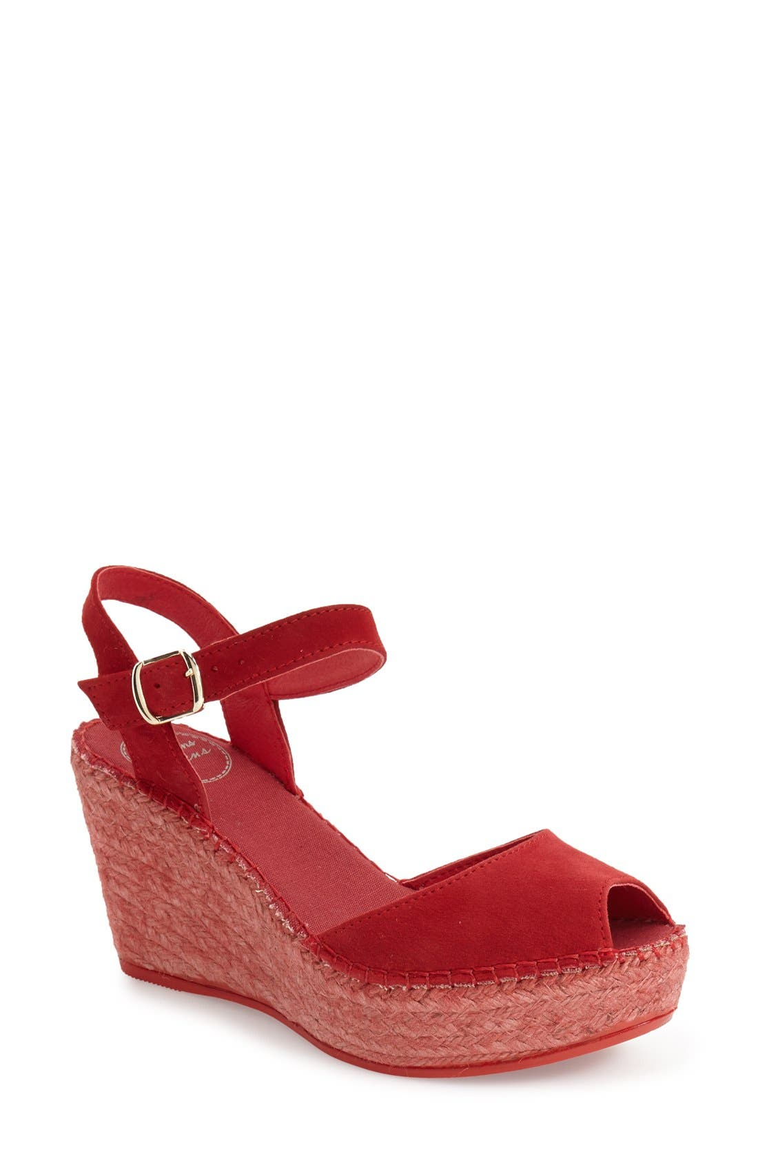Laura Espadrille Wedge Sandal,                             Main thumbnail 1, color,                             RED SUEDE