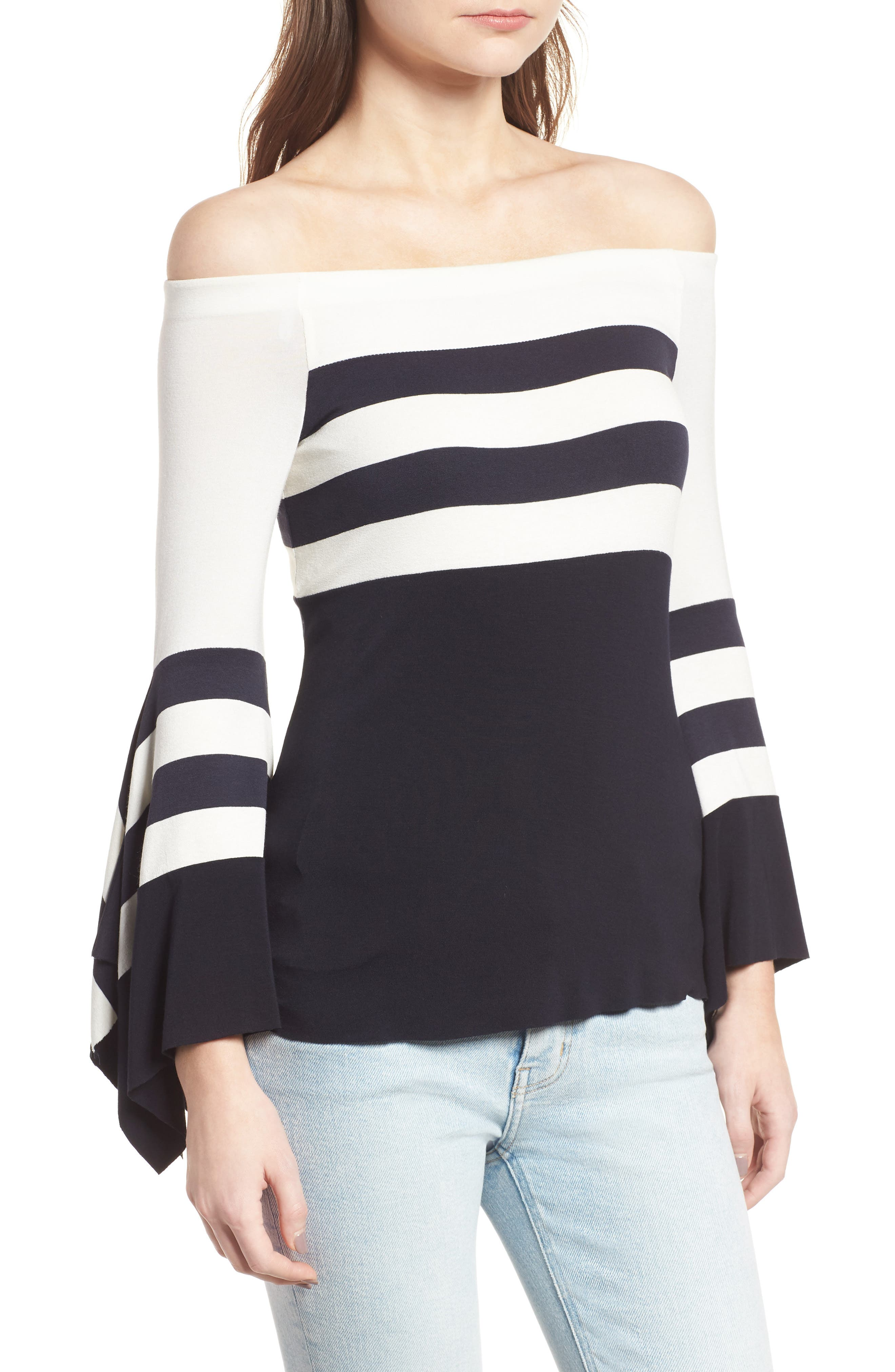 Bluebell Statement Sleeve Off the Shoulder Top,                             Alternate thumbnail 3, color,                             494