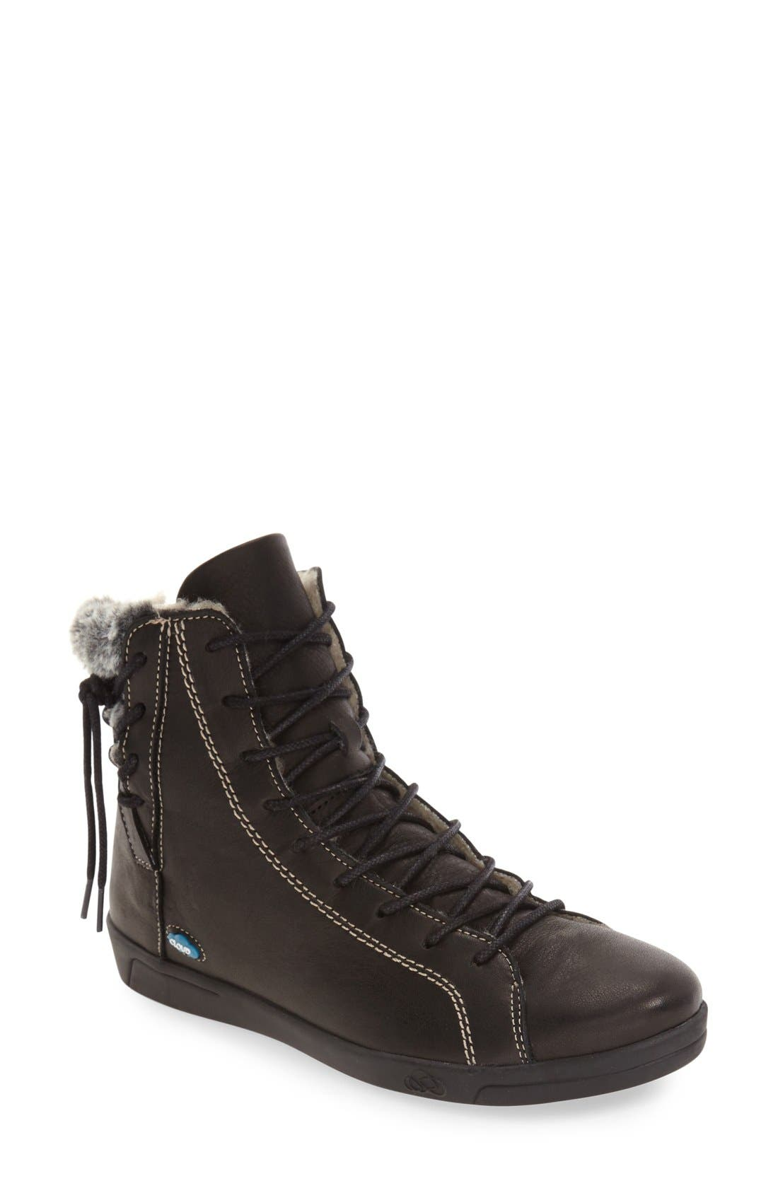'Astrid' High Top Sneaker,                             Main thumbnail 1, color,                             BLACK LEATHER