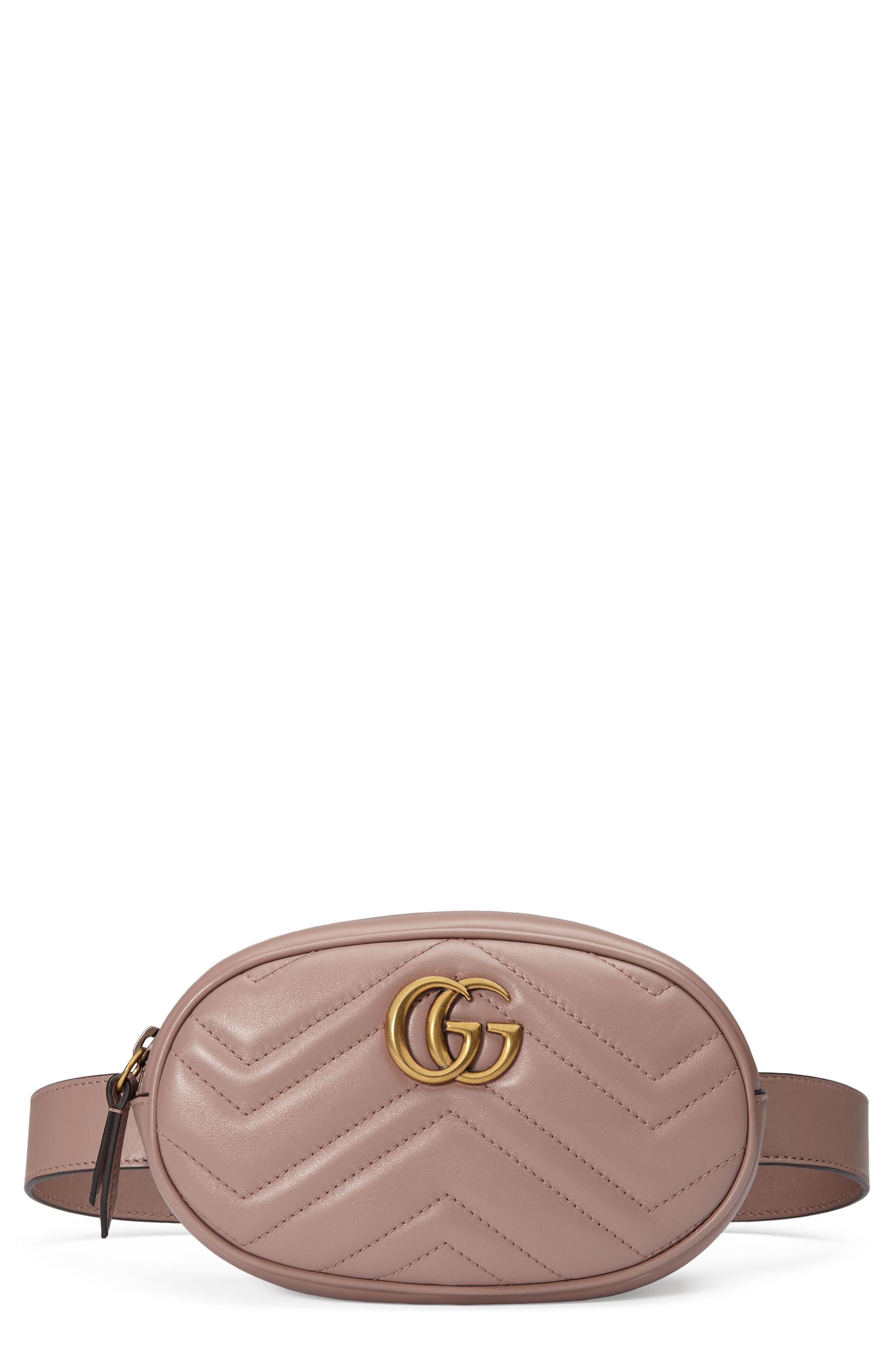 GG Marmont 2.0 Matelassé Leather Belt Bag,                             Main thumbnail 1, color,                             PORCELAIN ROSE