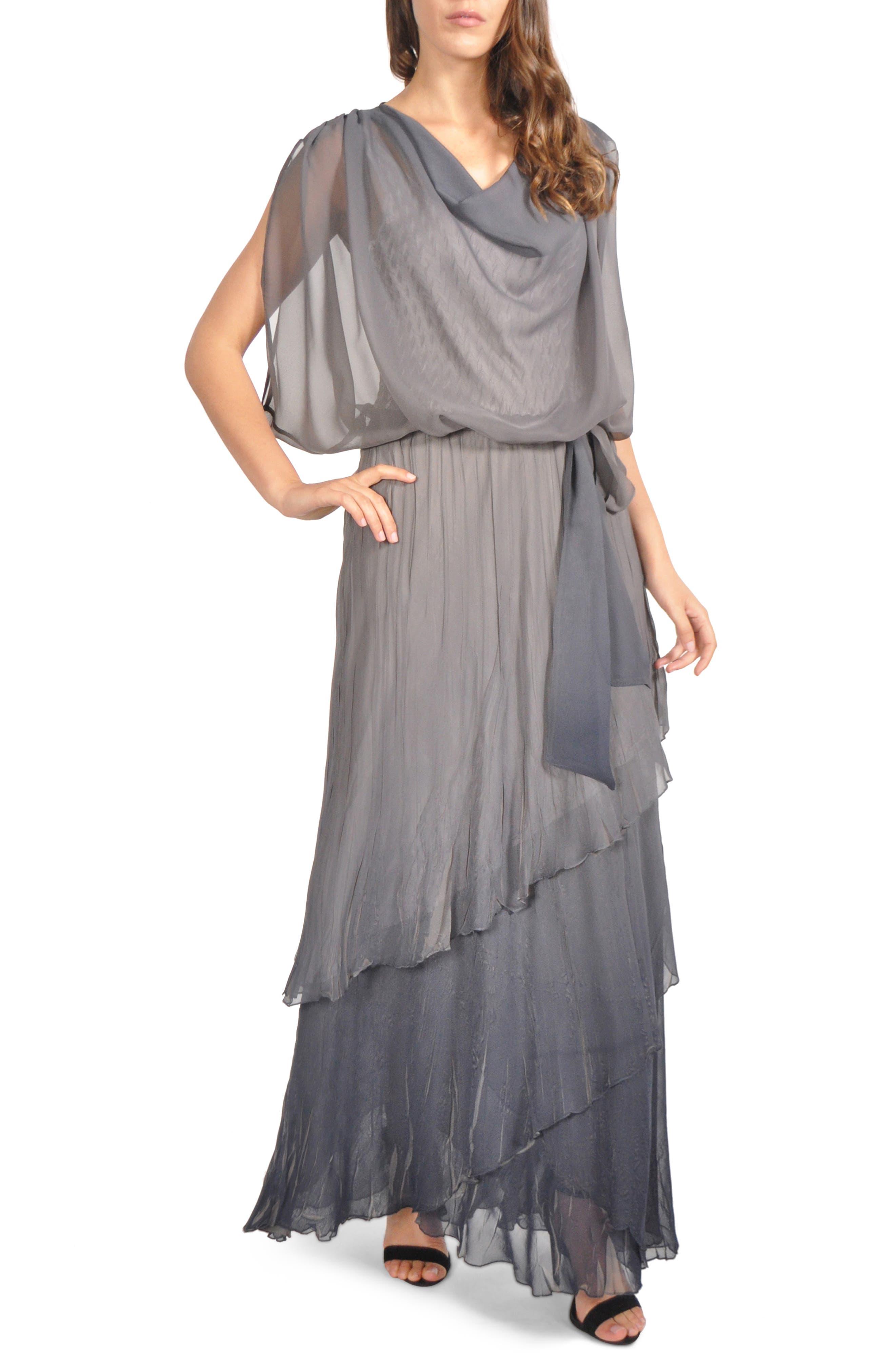 Komarov Drape Chiffon Gown, Grey